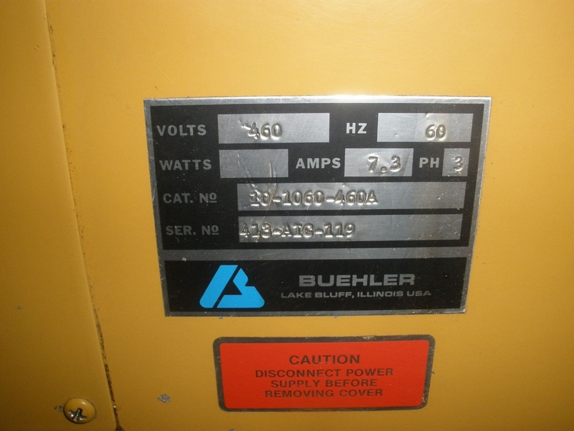 Lot 35 - Buehler Abrasimatic Wet Cut-Off Saw 460V 3PH We can provide loading for this item for a fee of $