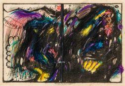 """Arnulf RainerBaden 1929 *Tausendwetter (3. Blatt aus der Mappe """"Wahnhall"""")Ölkreide auf"""