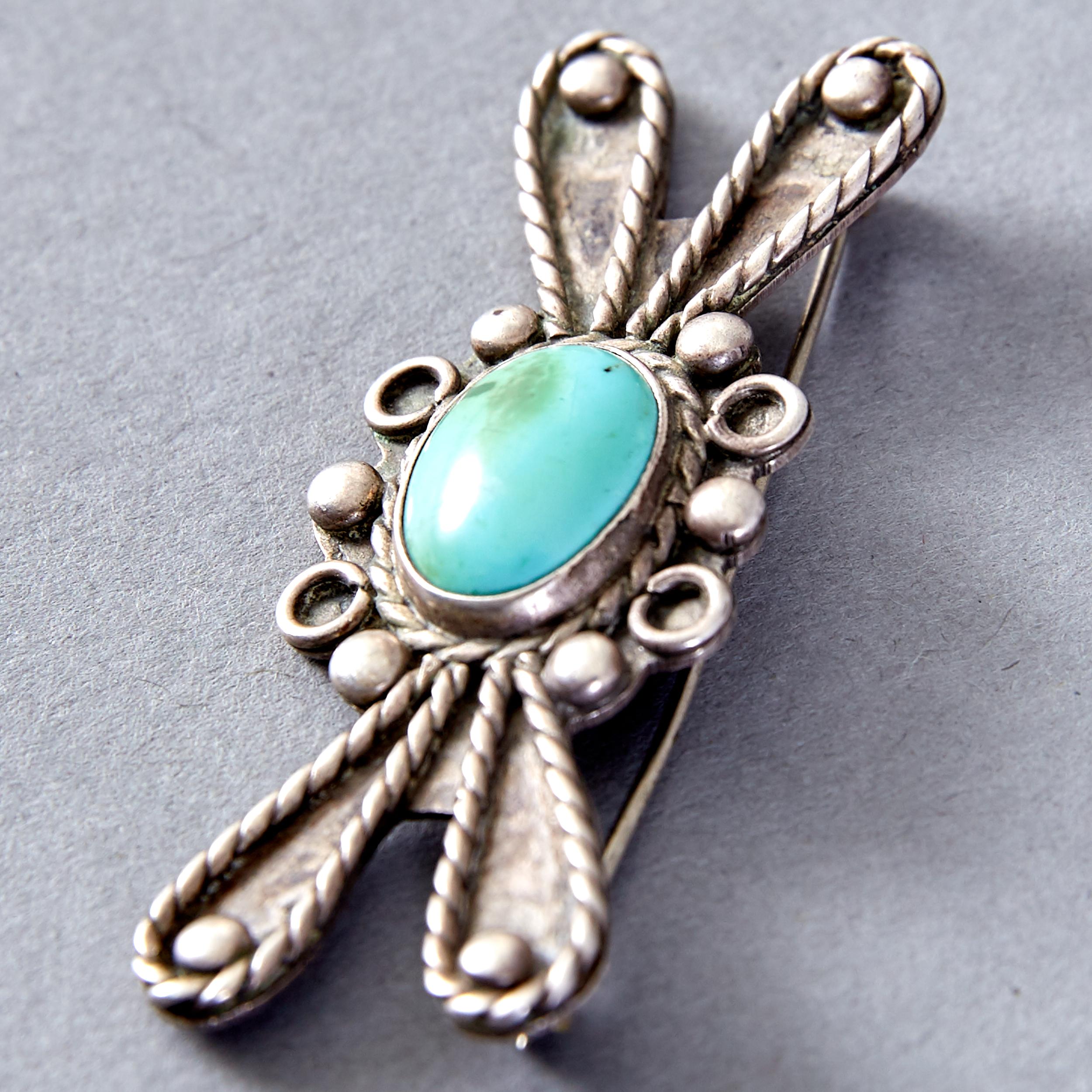 Lot 325 - 5 Native American Navajo & Plains Silver Pins and Pendants