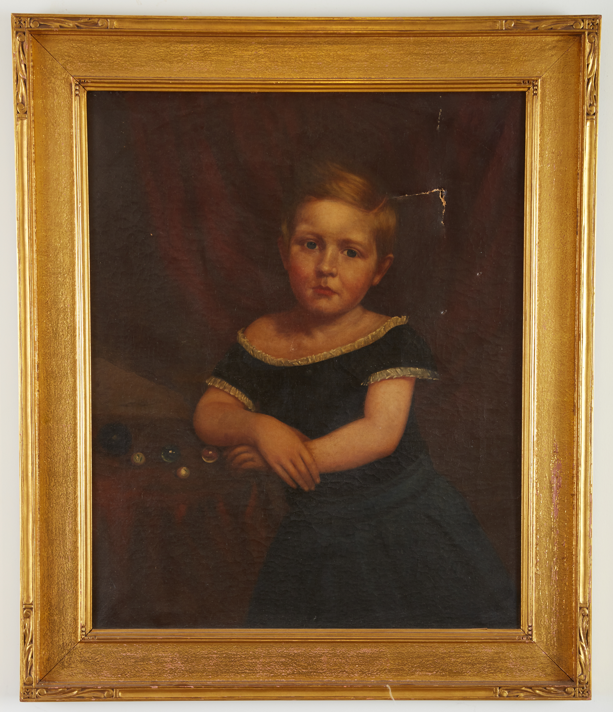 Lot 2 - 19th Century American School Portrait of a Girl Unsigned