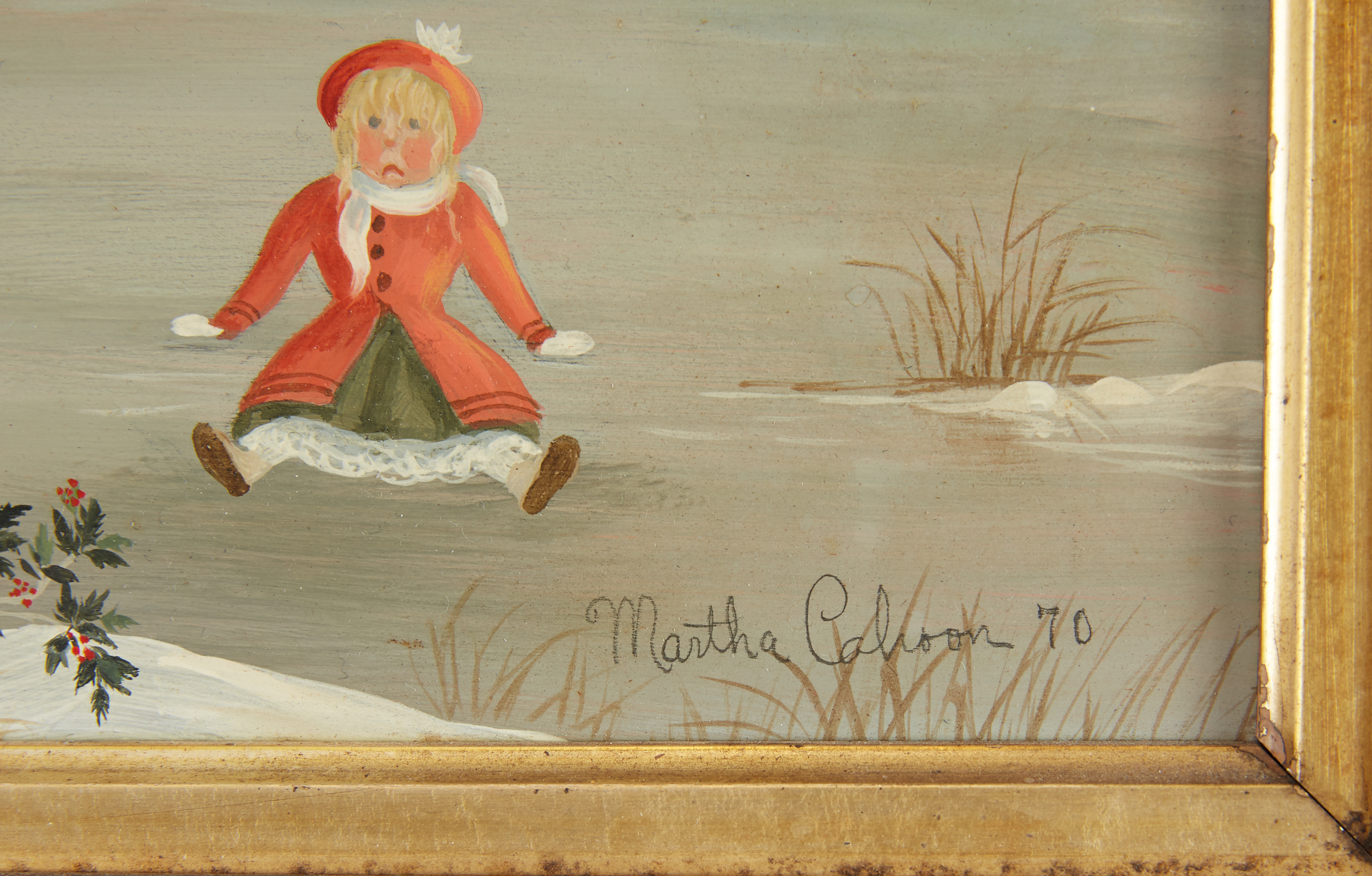 Lot 32 - Martha Cahoon Skating Oil on Masonite