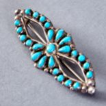 Lot 326 - 4 Zuni Silver and Turquoise Pins Jack Weekoty