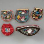 Lot 222 - Group of Iroquois Beaded Bags and Cap Late 19th c.