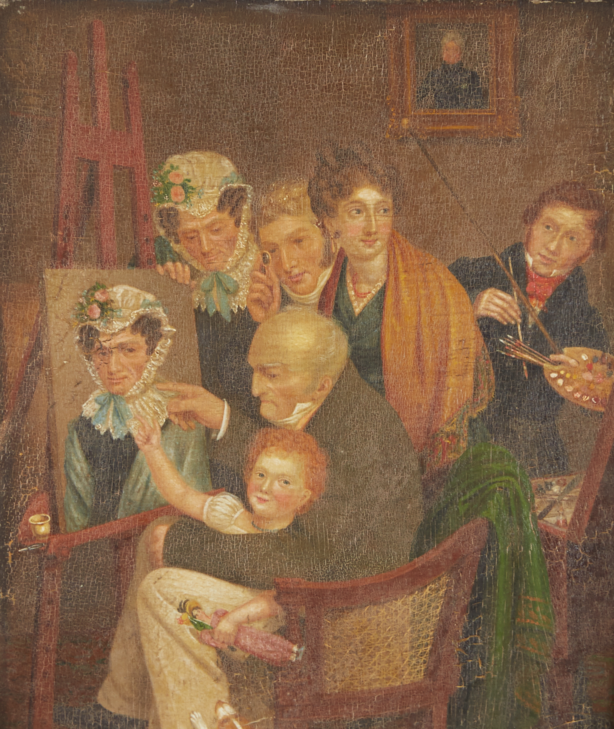 Lot 12 - Group of 2 19th c. Paintings Unsigned American School Folk Art