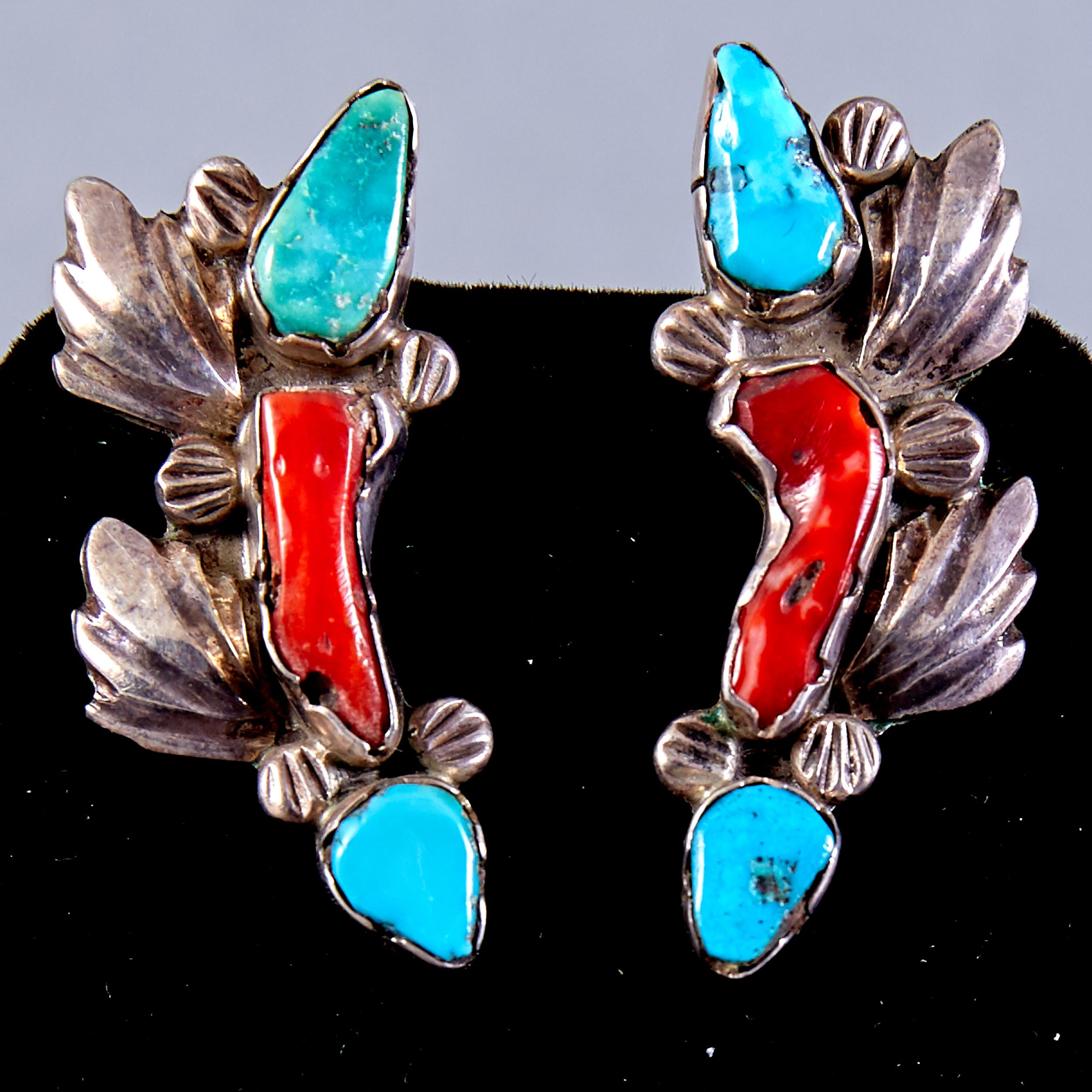 Lot 364 - 4 Pairs Native American Zuni Earrings Dan Simplicio