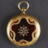Lot 94 - Golay 18K Gold Pocket Watch Enamel