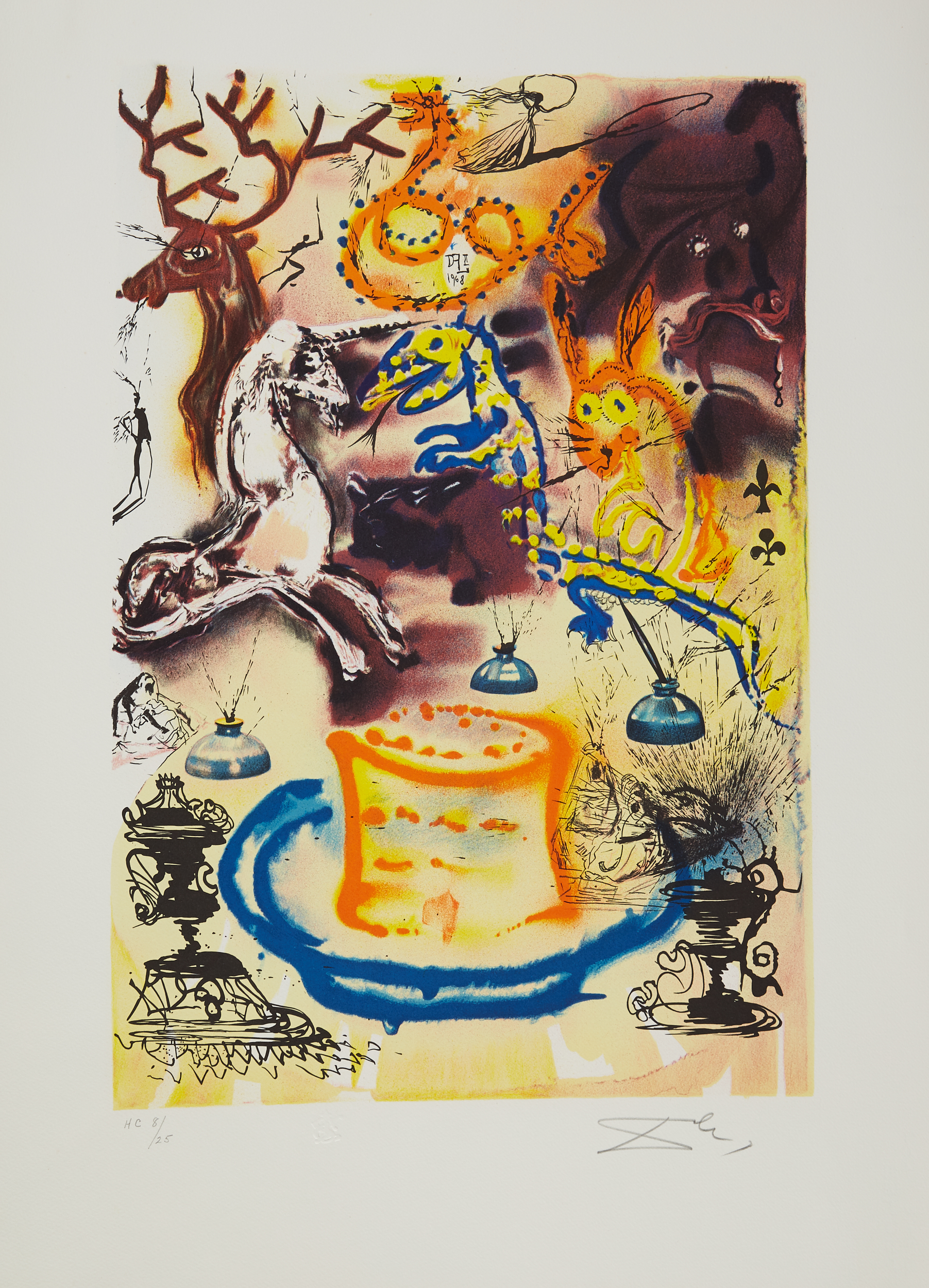 Lot 48 - 4 After Salvador Dali Alice in Wonderland Color Lithographs
