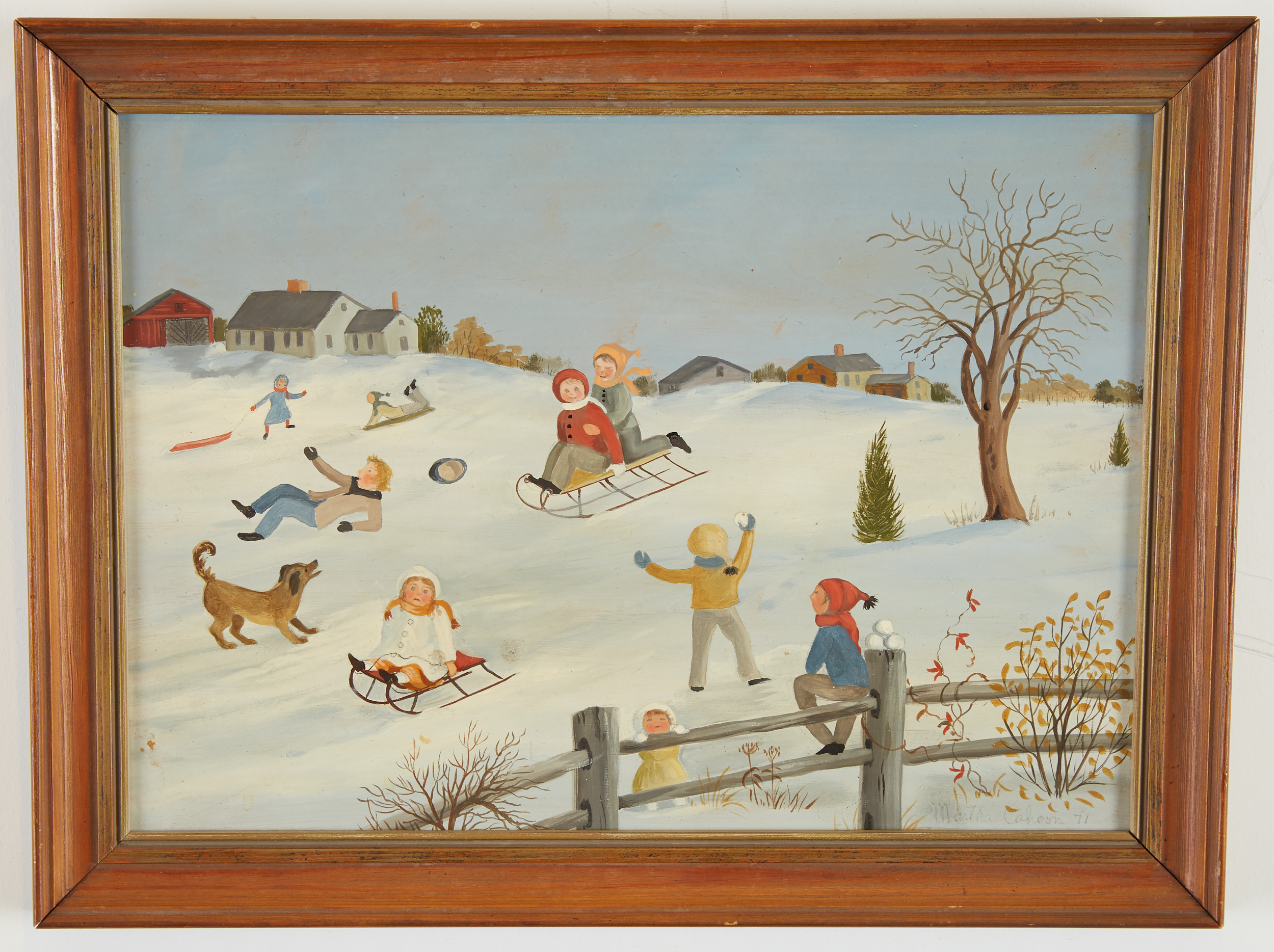 Lot 34 - Martha Cahoon Winter Coasting Oil on Masonite
