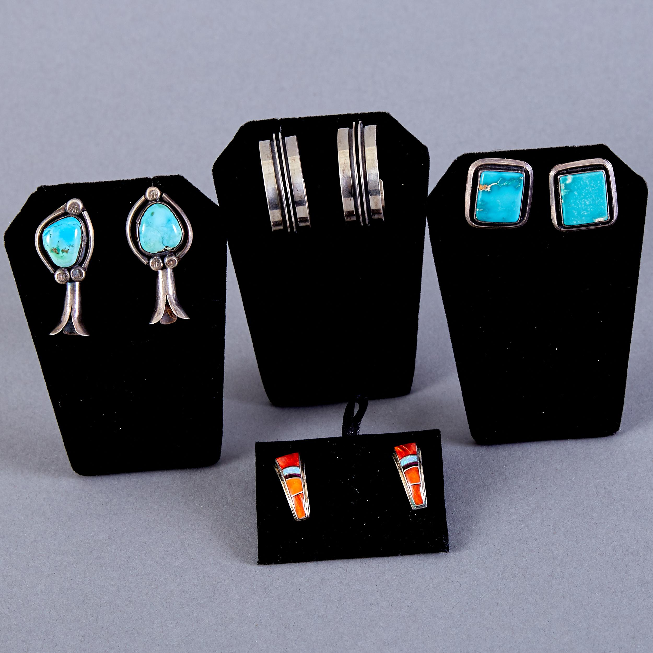 Lot 365 - 4 Pair Navajo Earrings G. Webster Richard Blatts