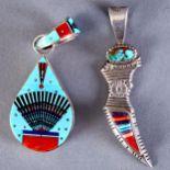 Lot 324 - 2 Navajo Stone Inlay Pendants Ervin Tsosie David Tune