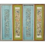 Lot 104 - Group of 4 Chinese Silk Embroideries - Robe Cuffs