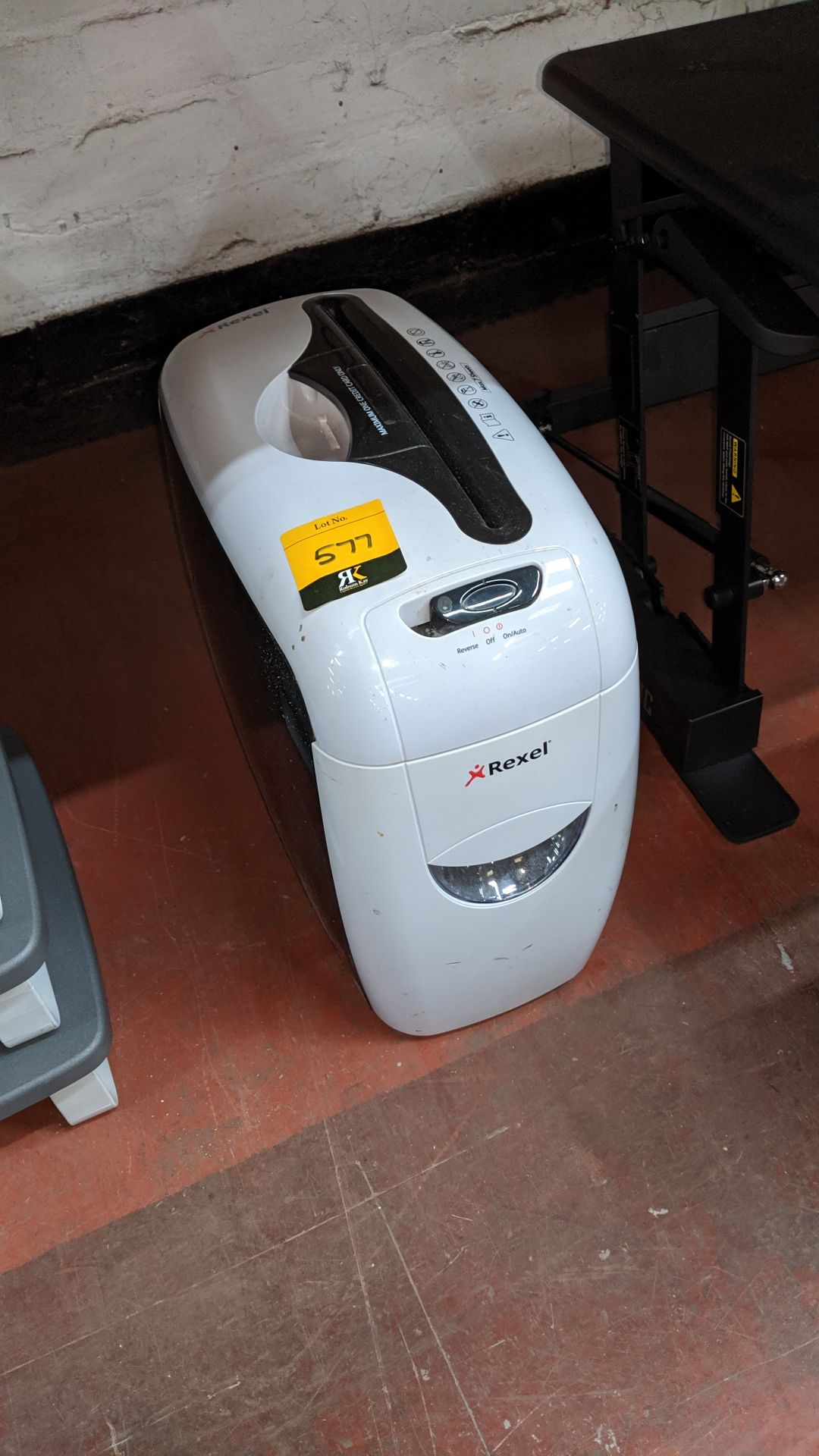 Lot 577 - Rexel office shredder. Lots 560 - 580 form the total assets of a healthcare recruitment company