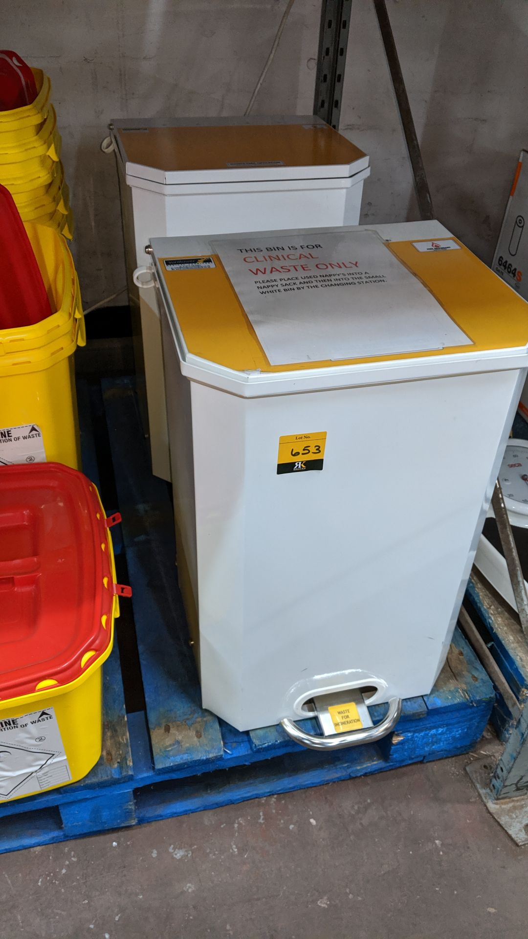 Lot 653 - 2 off metal pedal bins. This is one of a large number of lots used/owned by One To One (North
