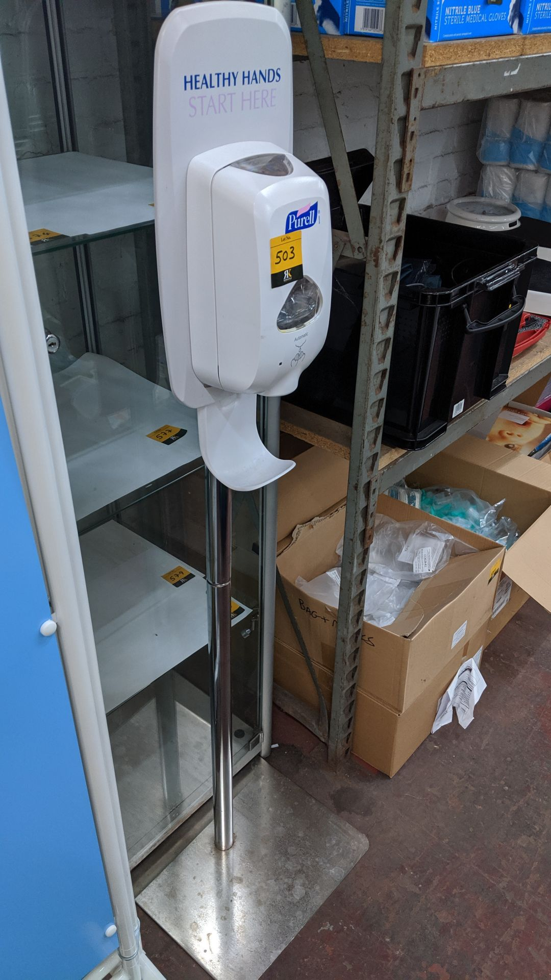 Lot 503 - Purell floor standing hand sanitizer dispensing device. This is one of a large number of lots used/