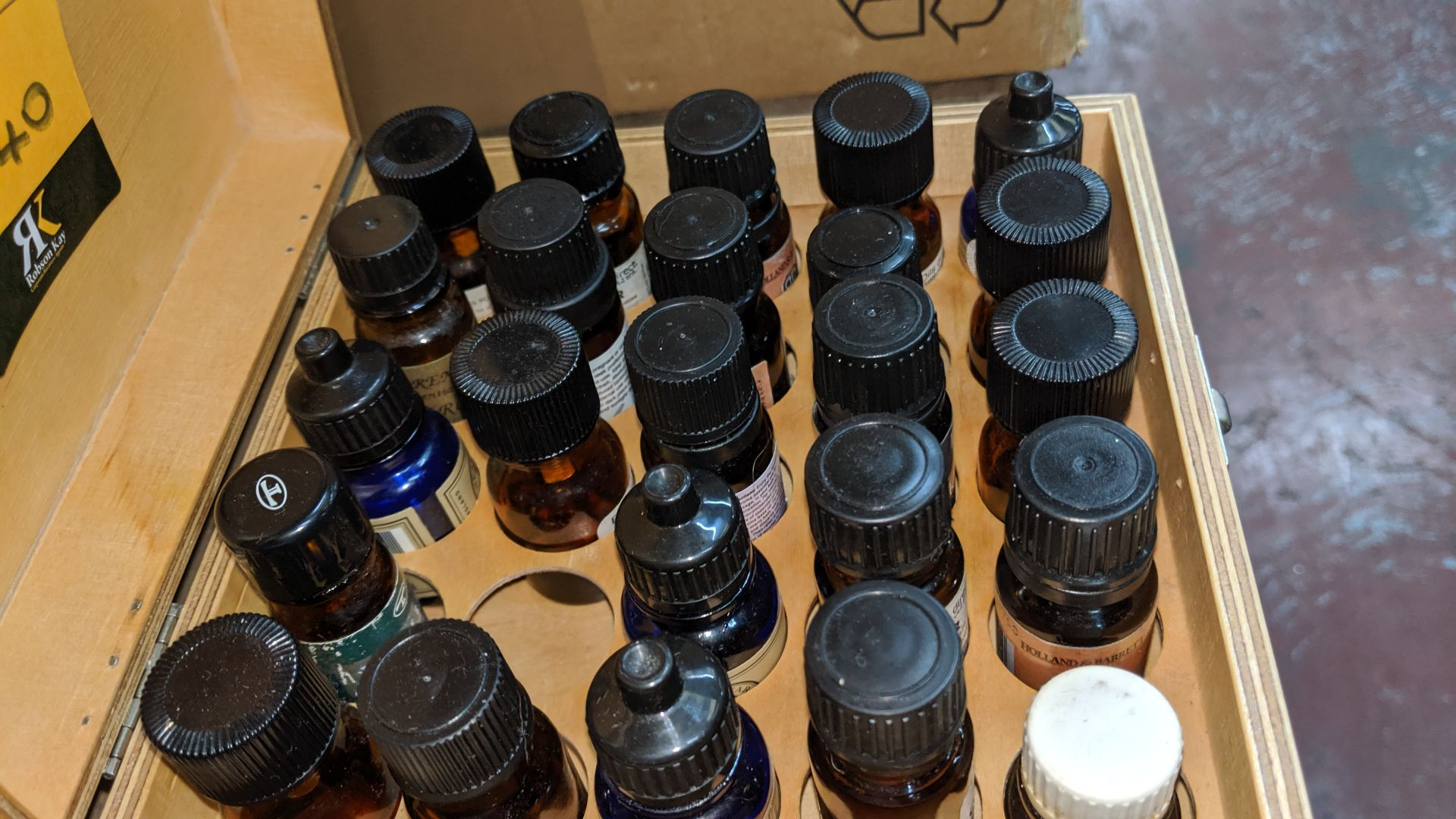 Lot 540 - Box & contents of assorted essential oils. This is one of a large number of lots used/owned by One