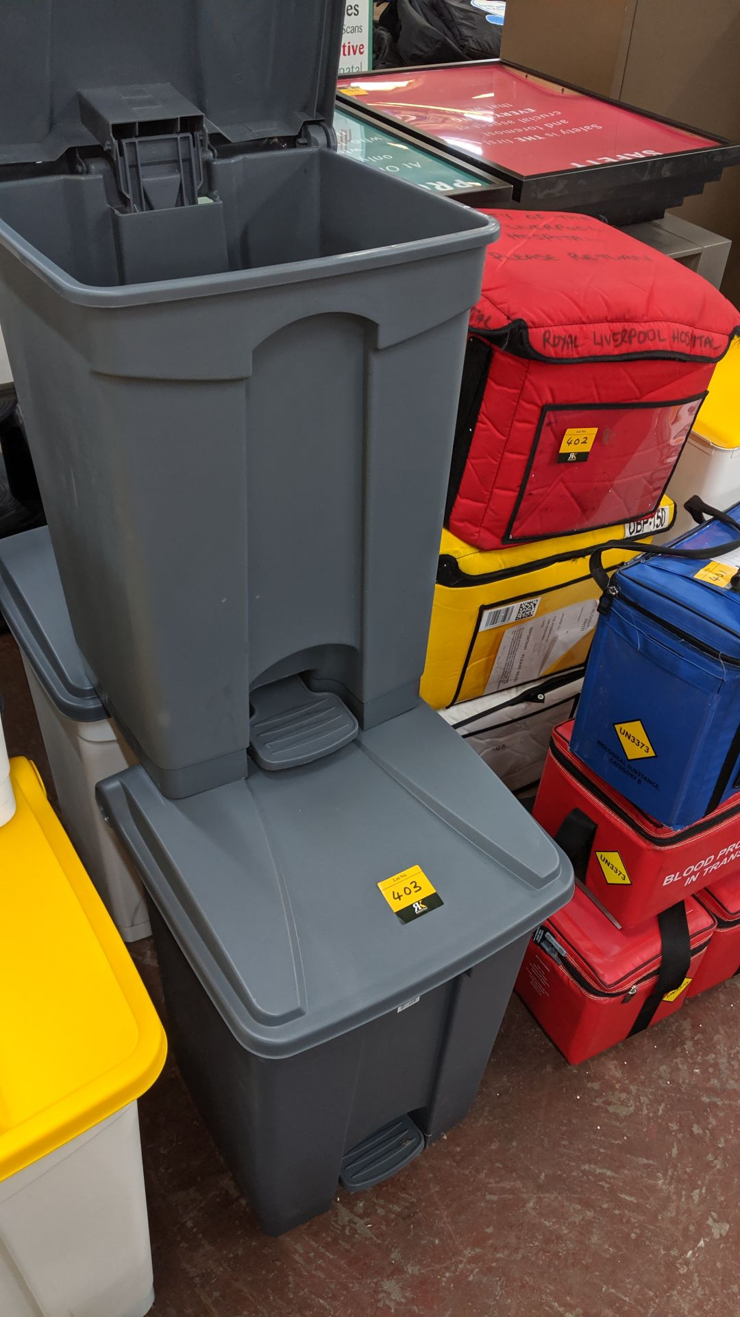 Lot 403 - 3 off plastic pedal bins. This is one of a large number of lots used/owned by One To One (North