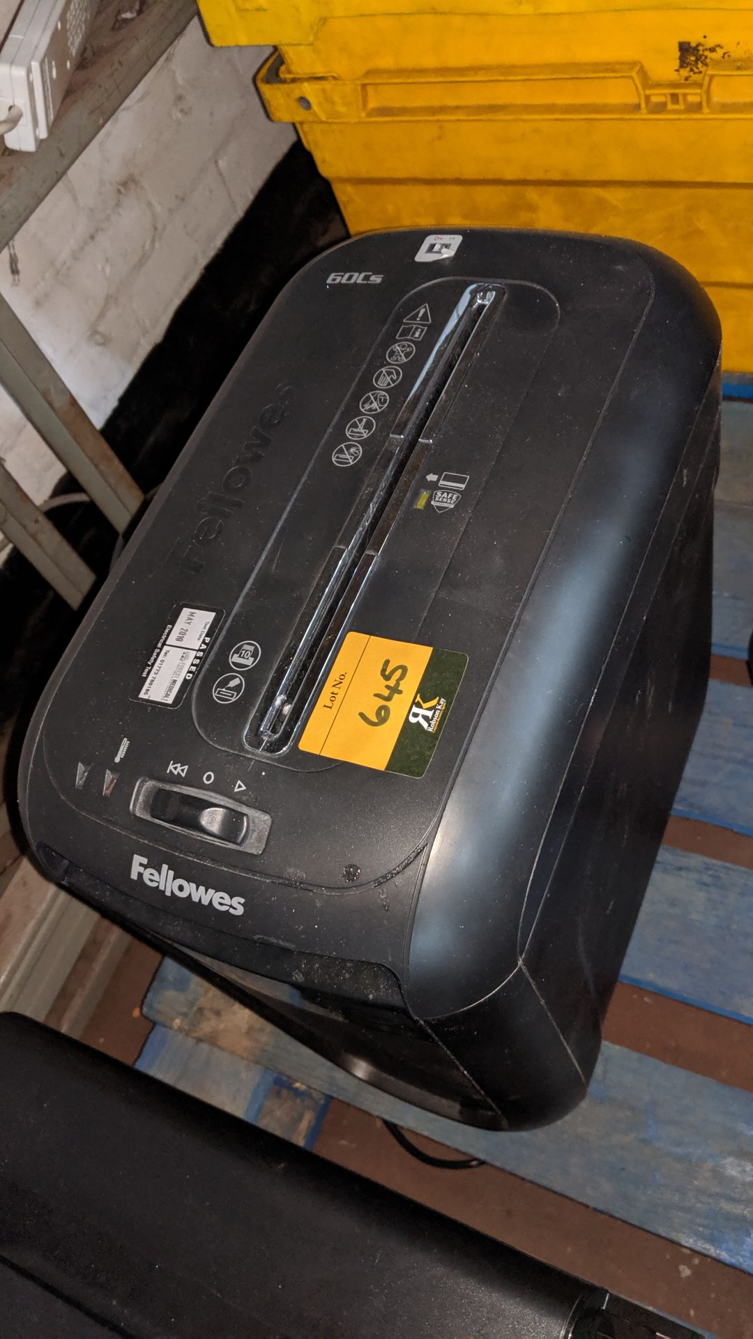 Lot 645 - Fellowes paper shredder. This is one of a large number of lots used/owned by One To One (North West)