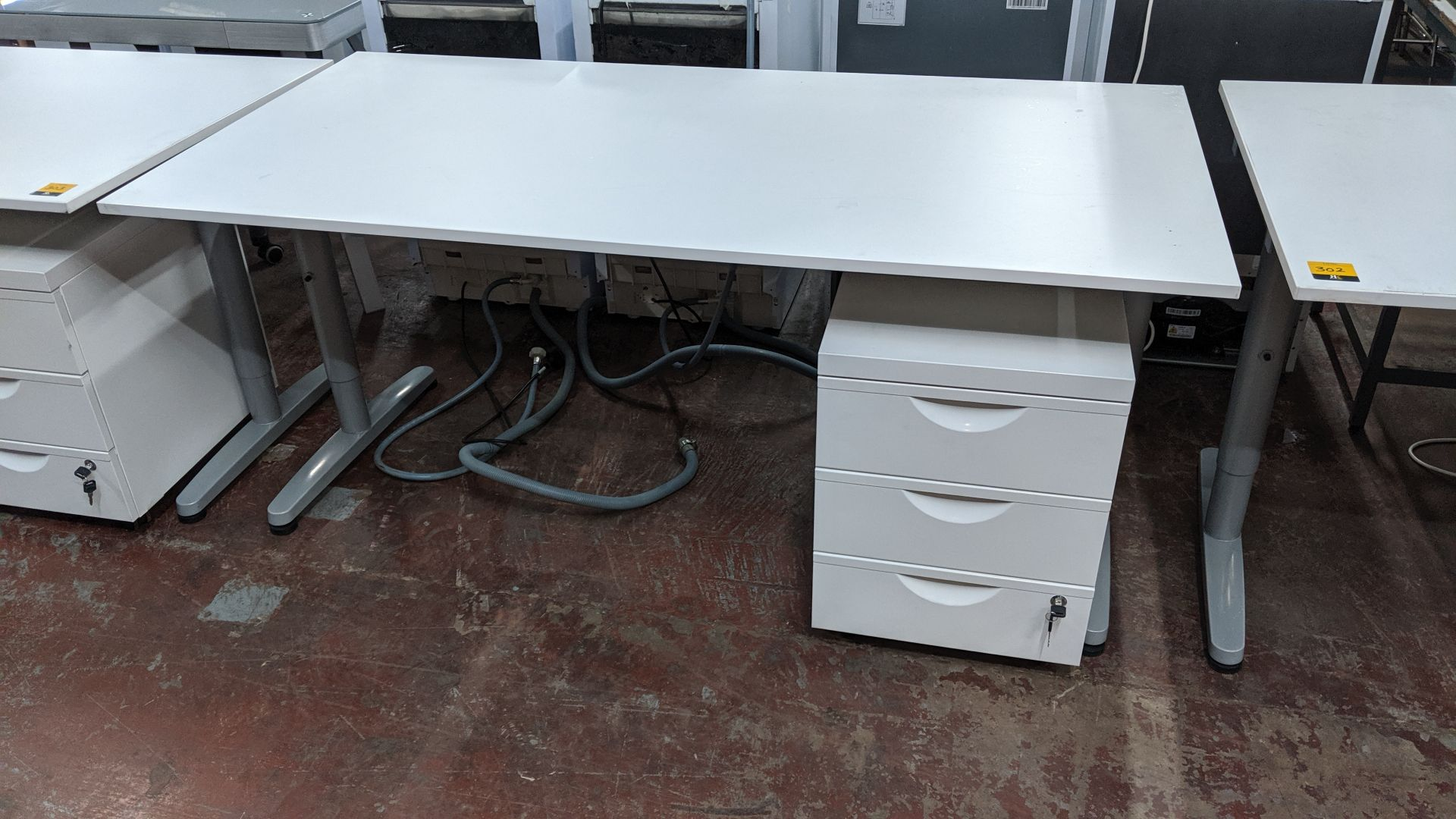 Lot 302 - 2 off matching large white tables/desks, 160 x 80cm, each with matching mobile pedestal & extendable