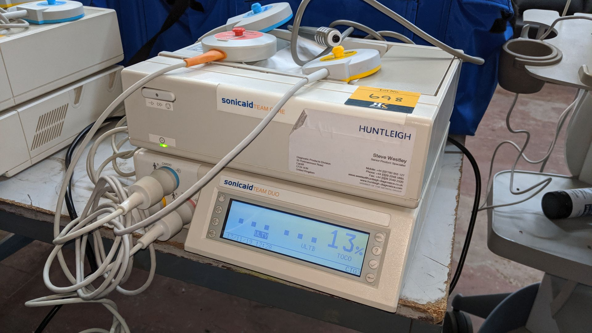 Lot 698 - Huntleigh Sonicaid Fetal scanning system comprising Team Duo & Team Care modules plus carry case &