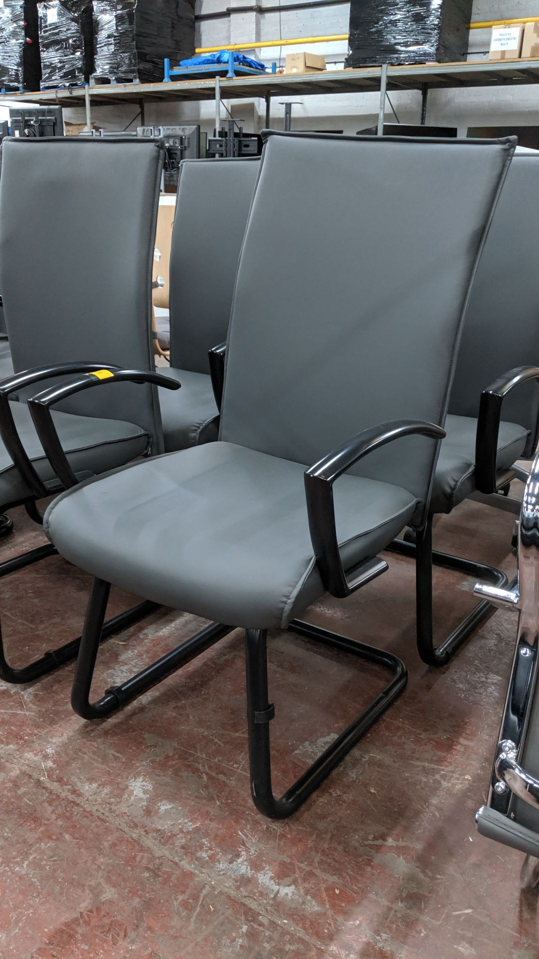 Lot 351 - 4 off black metal cantilever framed executive/meeting chairs with grey leather-look upholstery NB.