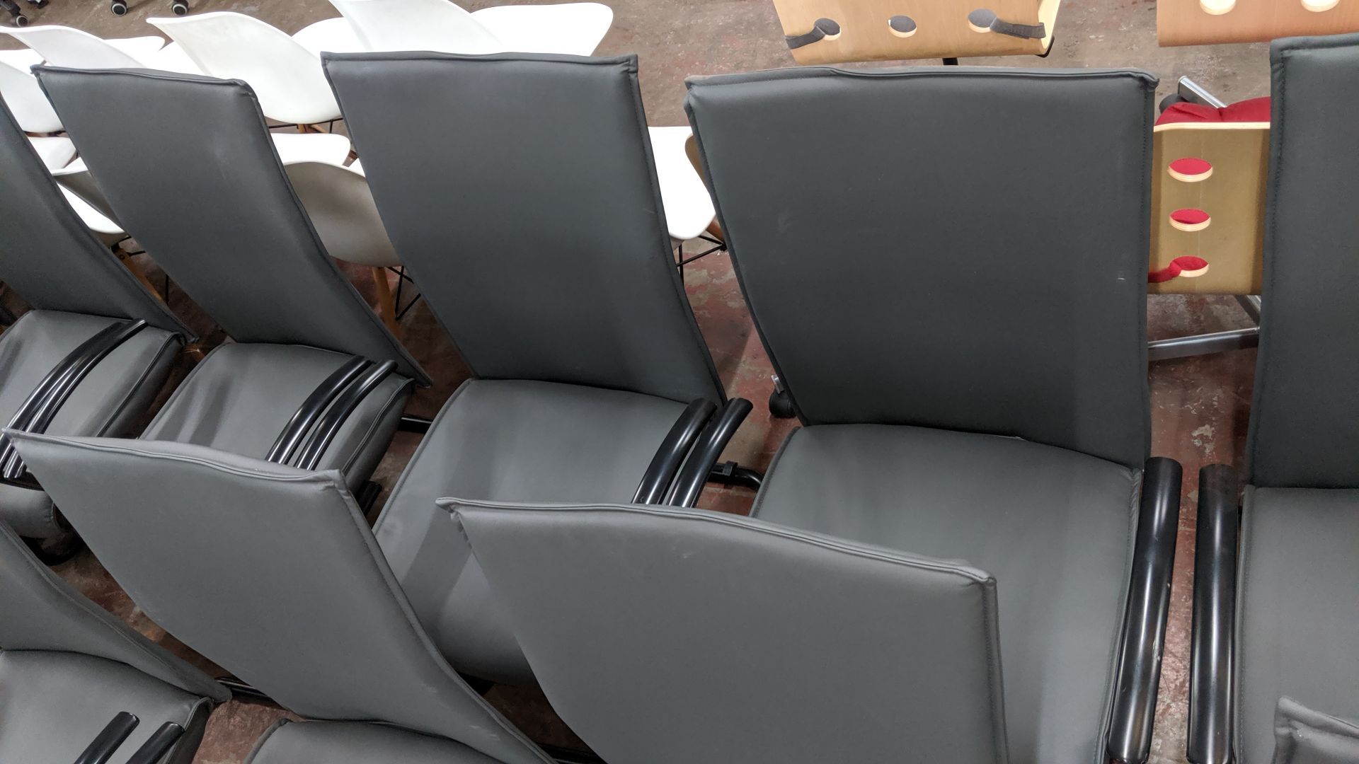 Lot 352 - 6 off black metal cantilever framed executive/meeting chairs with grey leather-look upholstery NB.