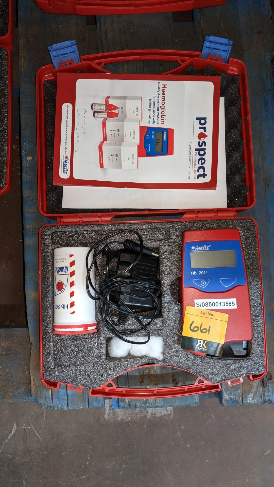Lot 661 - HemoCue HB201+ haemogloblin testing device in case. This is one of a large number of lots used/owned