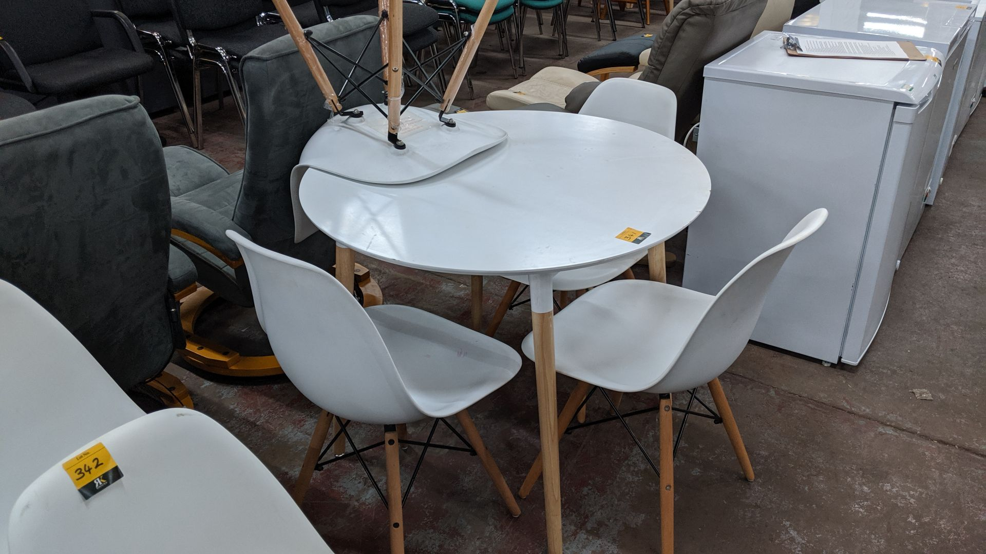 Lot 341 - Small dining suite comprising circular table (90cm diameter) & 4 chairs, all finished in white