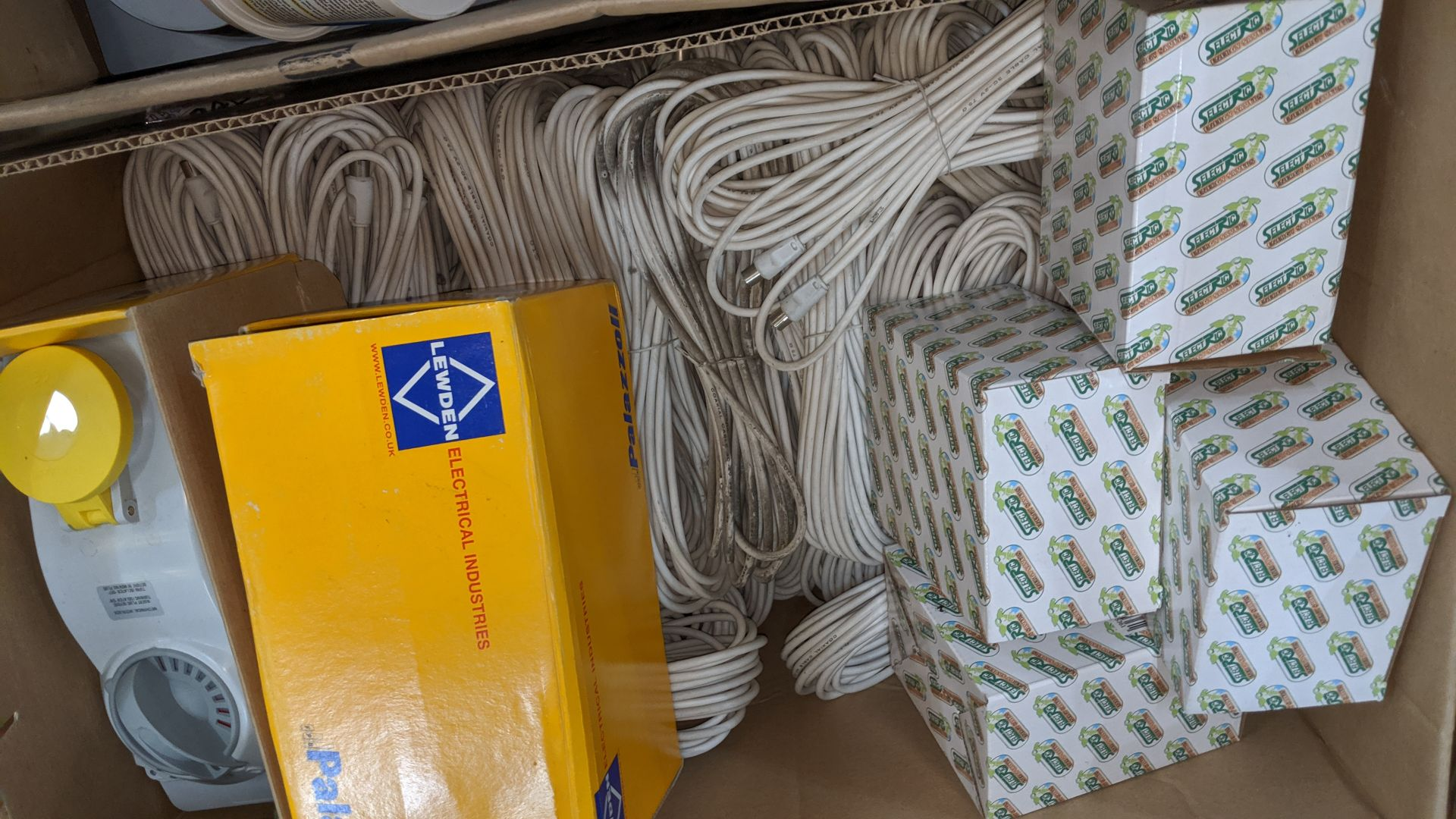 Lot 486 - Box of assorted sockets & cables. IMPORTANT: Please remember goods successfully bid upon must be