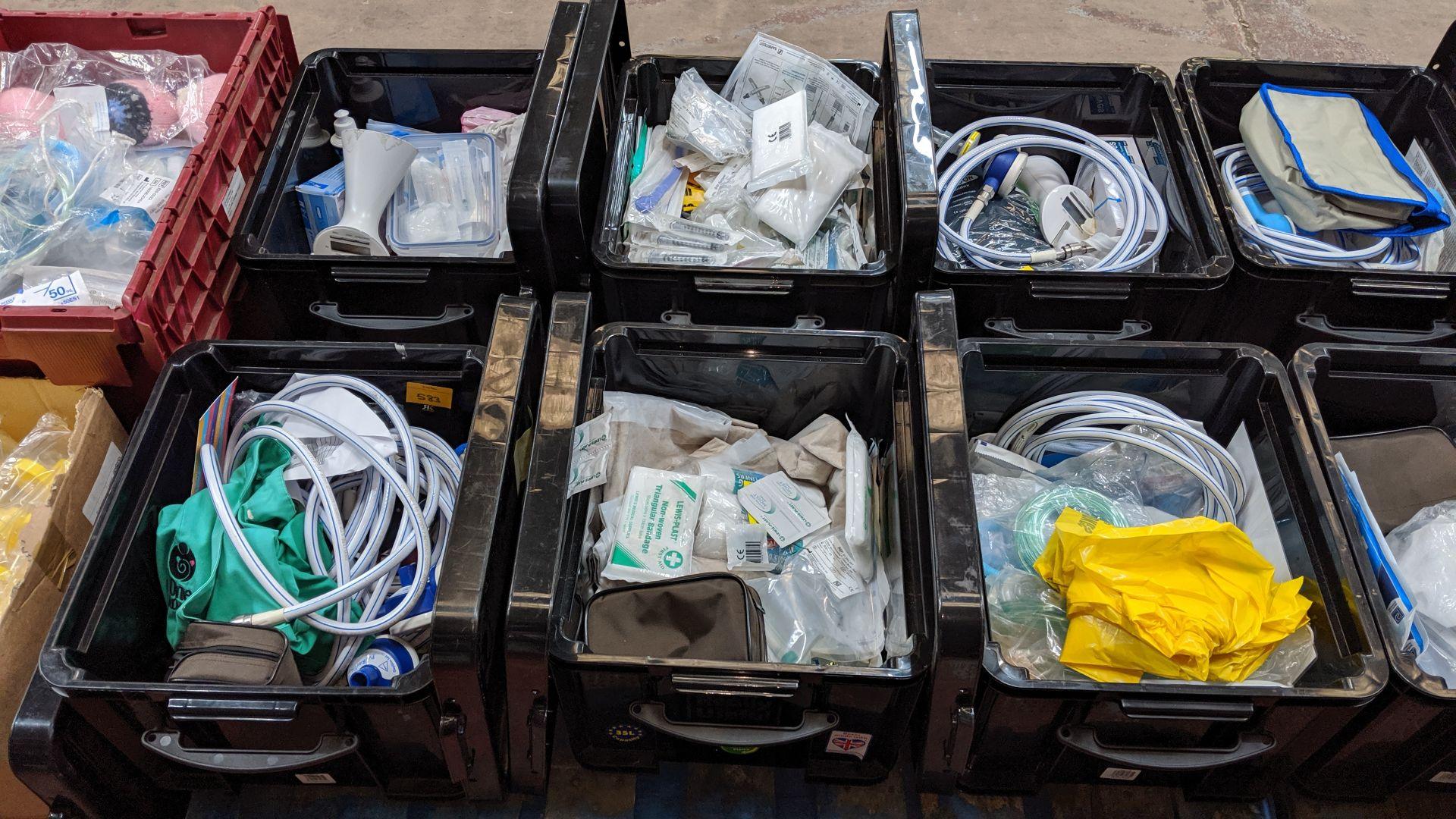 Lot 583 - Contents of 6 crates of assorted medical supplies including blood pressure monitoring equipment,