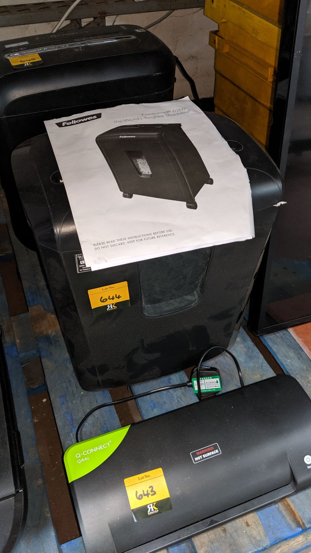 Lot 644 - Fellowes paper shredder. This is one of a large number of lots used/owned by One To One (North West)