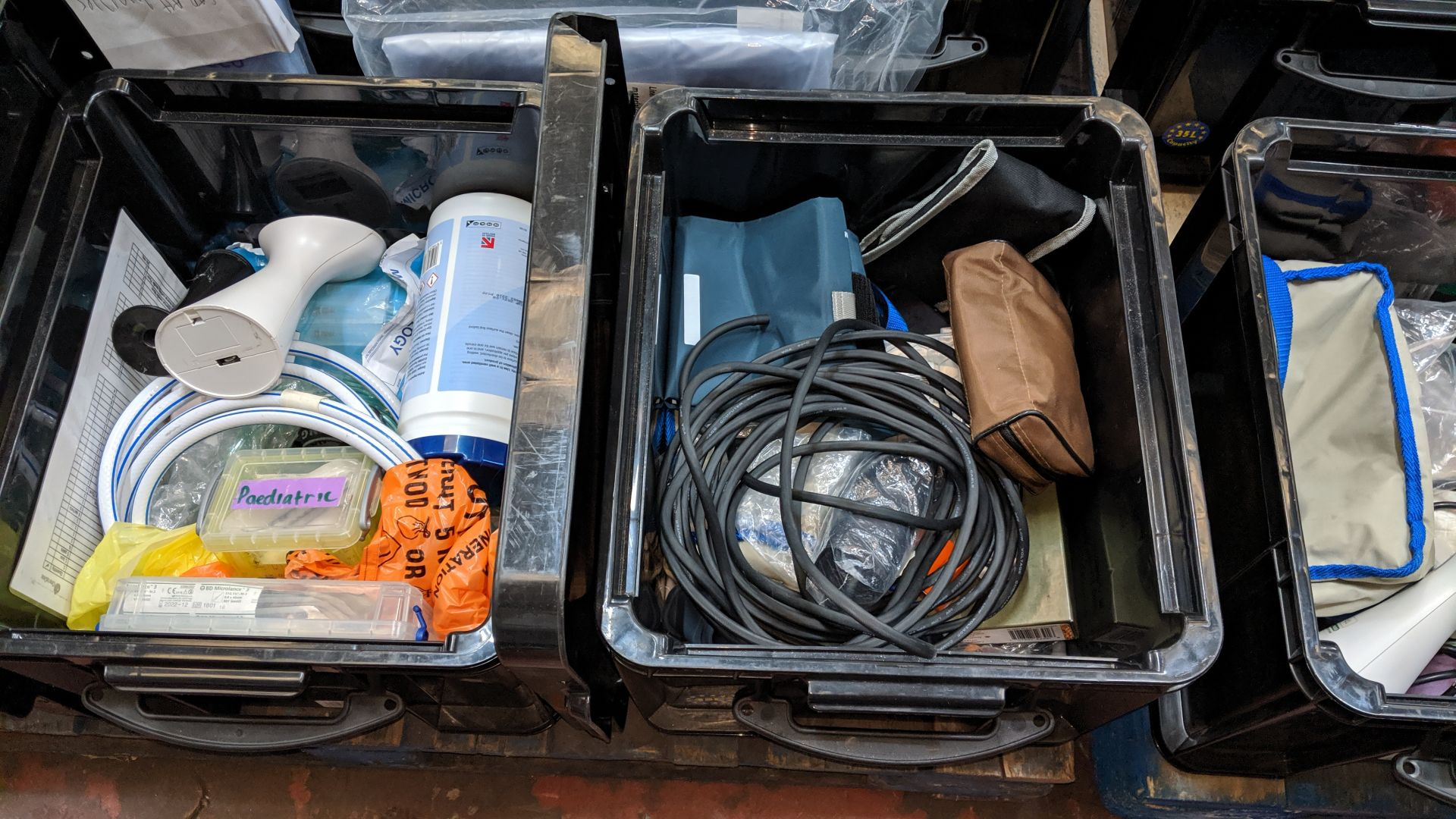 Lot 584 - Contents of 6 crates of assorted medical supplies including blood pressure monitoring equipment,