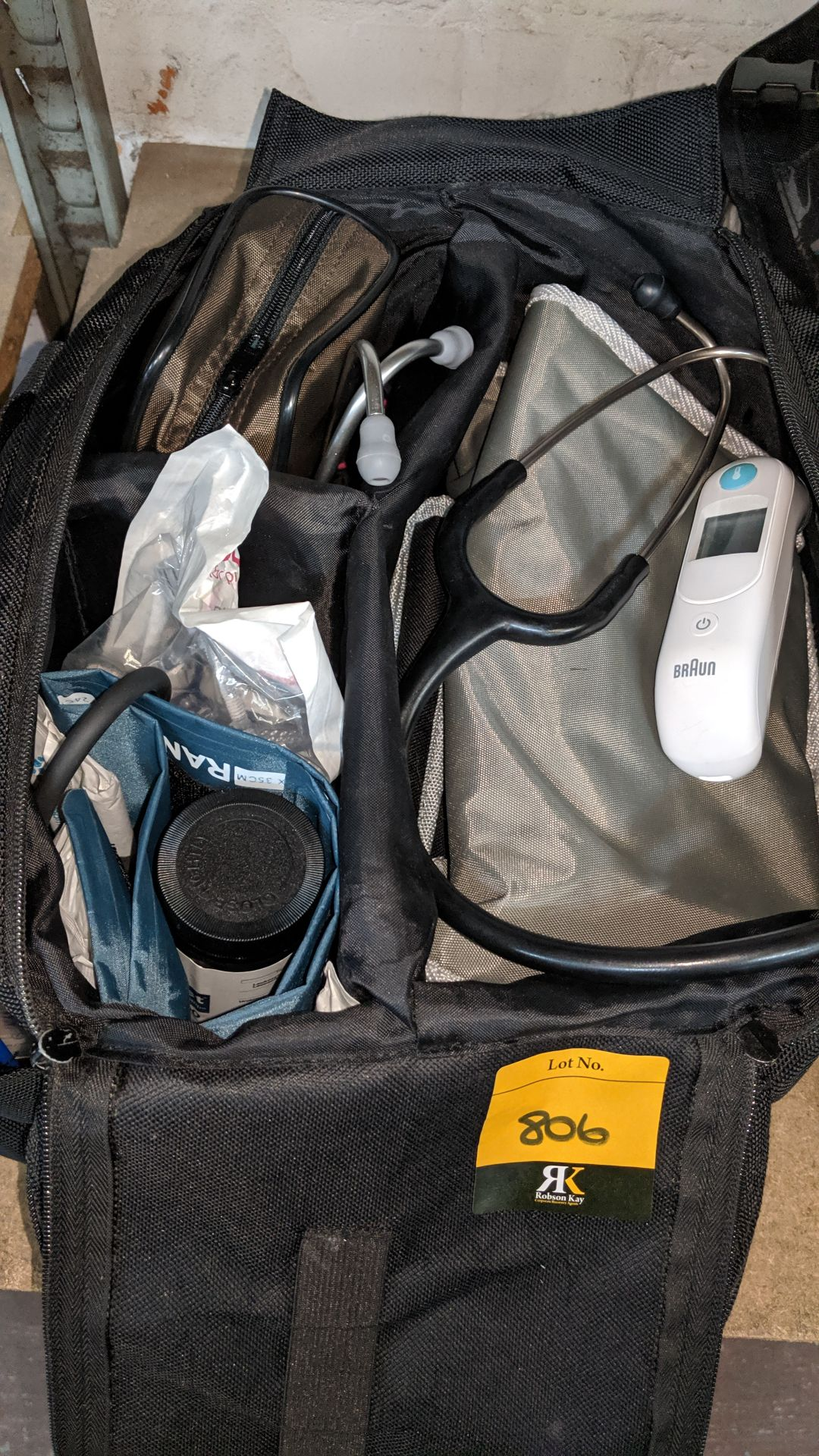 Lot 806 - 3 off medical bags & contents, each bag typically containing some or all of the following items -