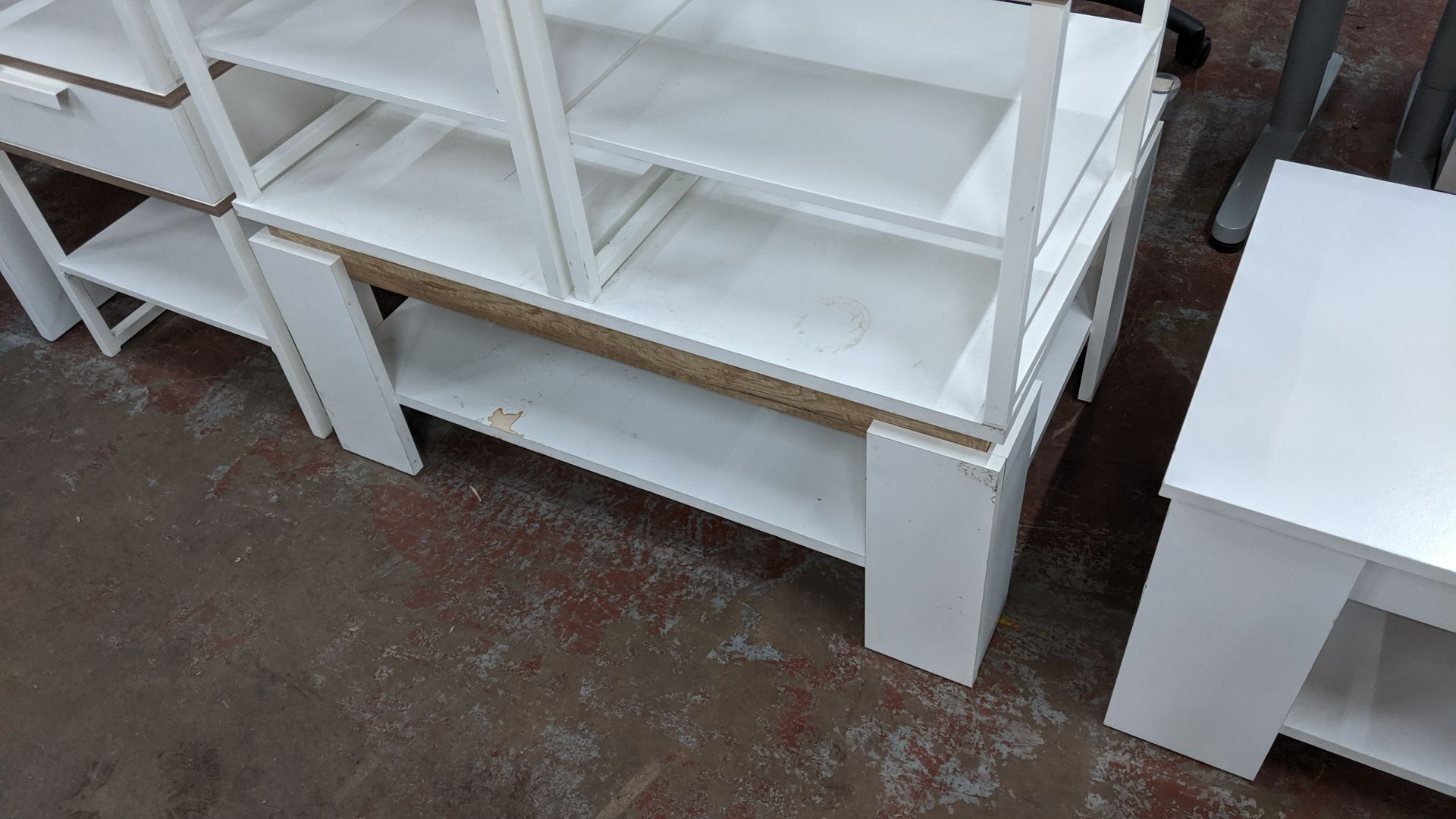 Lot 315 - 5 off white tables comprising 4 side tables each incorporating drawer plus coffee/occasional table