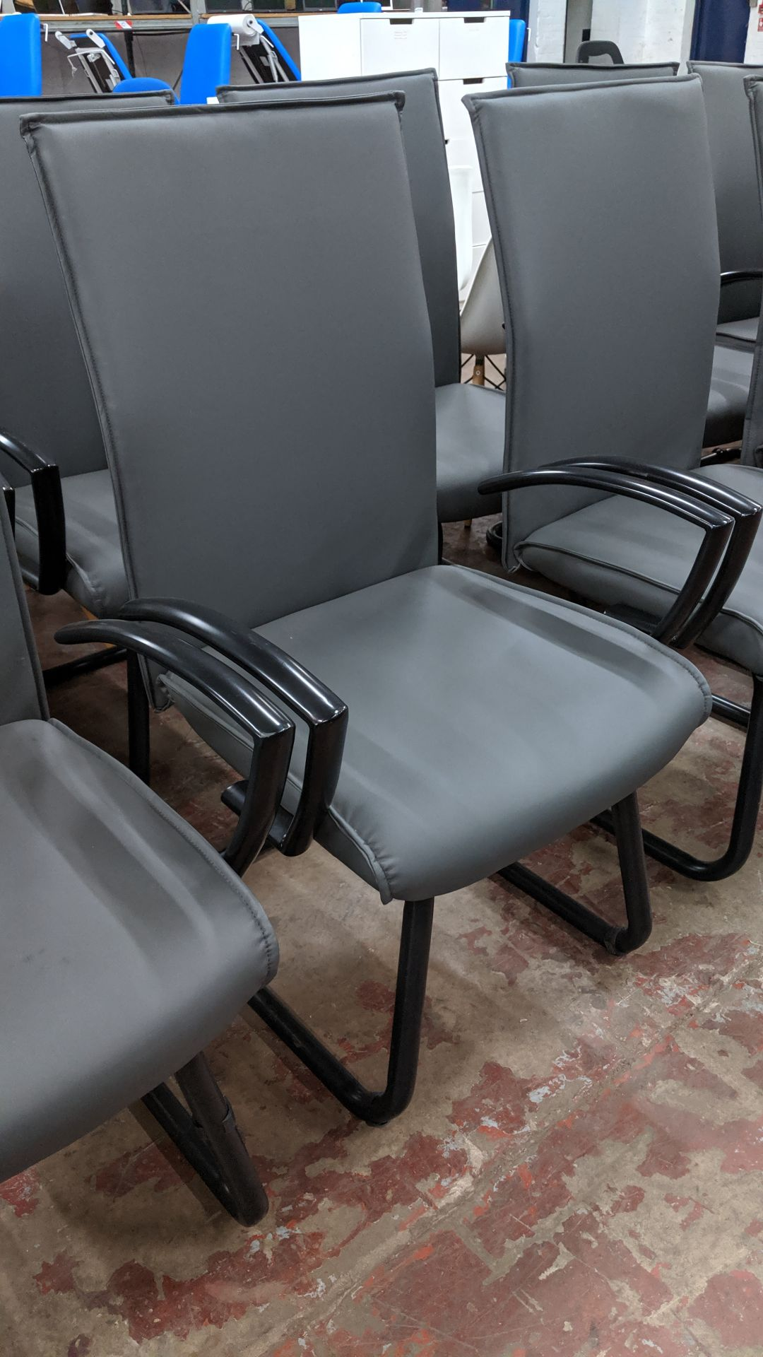 Lot 353 - 6 off black metal cantilever framed executive/meeting chairs with grey leather-look upholstery NB.