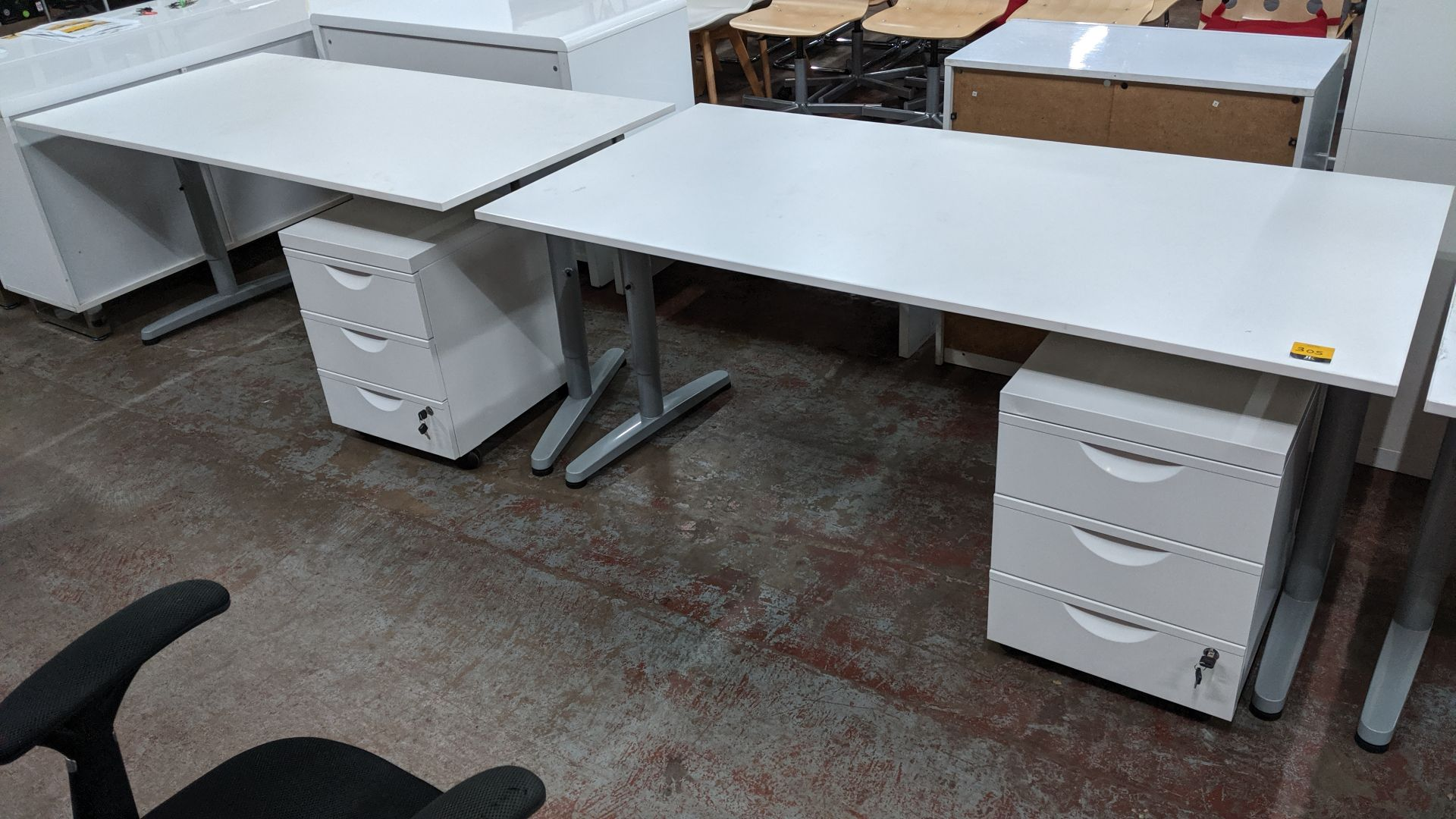 Lot 305 - 2 off matching large white tables/desks, 160 x 80cm, each with matching mobile pedestal & extendable