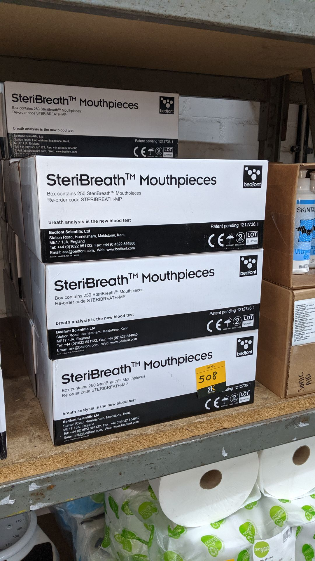 Lot 508 - 14 boxes of Bedfont Steribreath mouth pieces. This is one of a large number of lots used/owned by