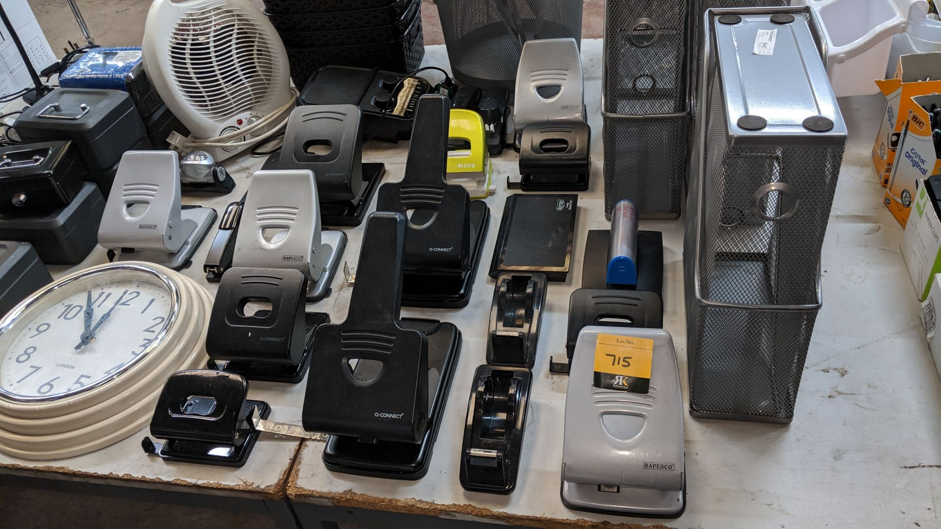Lot 715 - Quantity of office filing trays, hole punches, tape dispensers, cash tins, stationery & more. This