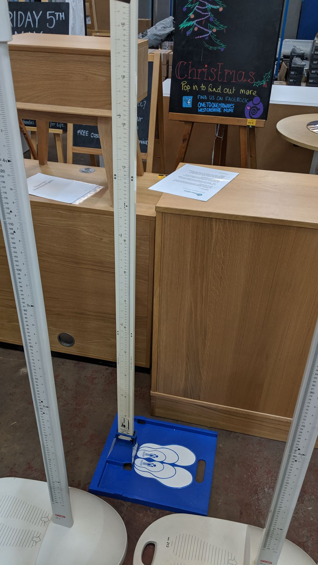 Lot 388 - Leicester height measure. This is one of a large number of lots used/owned by One To One (North