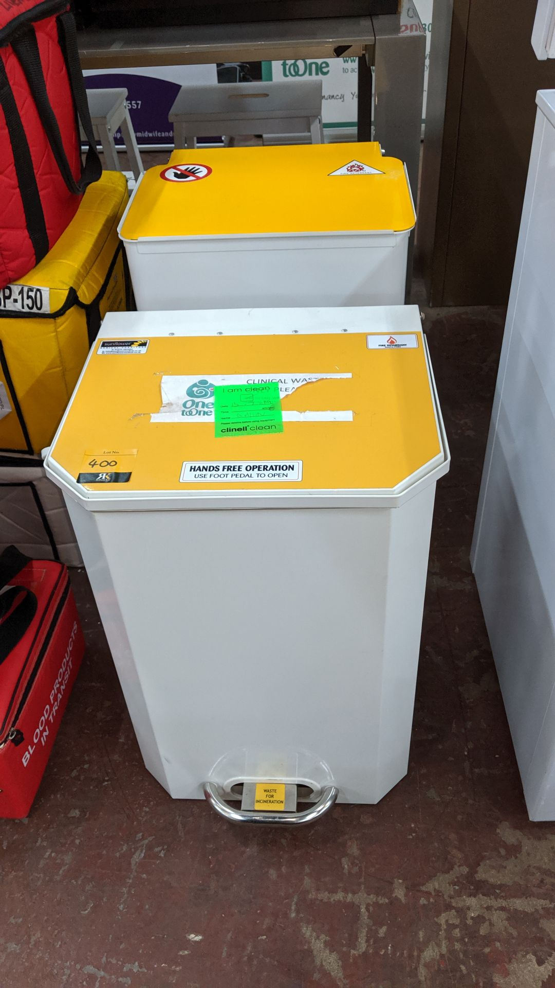 Lot 400 - 2 off metal pedal bins. This is one of a large number of lots used/owned by One To One (North