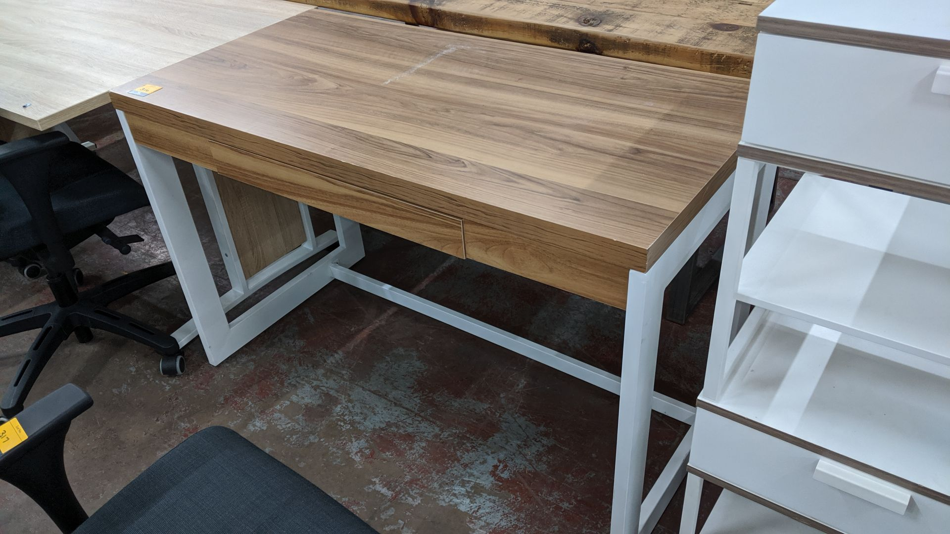 Lot 316 - White & wooden finish desk. This is one of a large number of lots used/owned by One To One (North