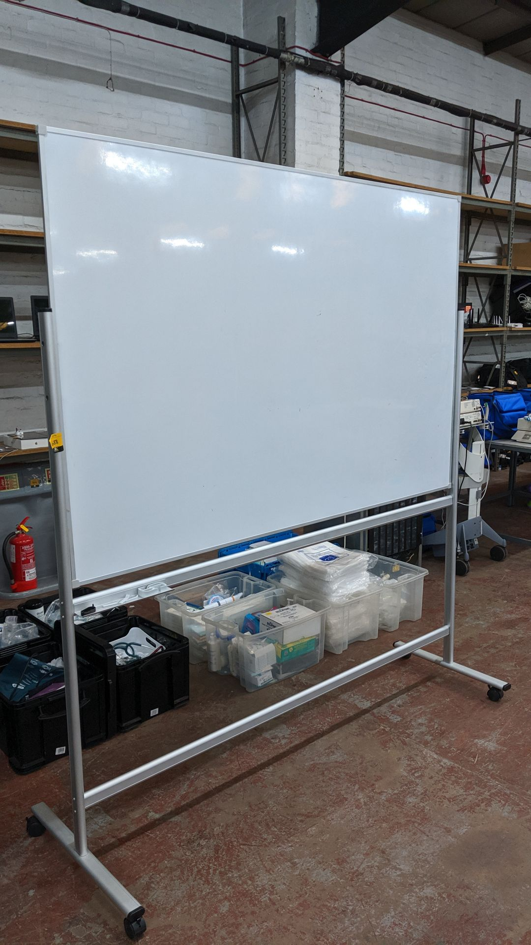 Lot 688 - Very large mobile reversible whiteboard, circa 180cm wide & circa 120cm tall including stand. This