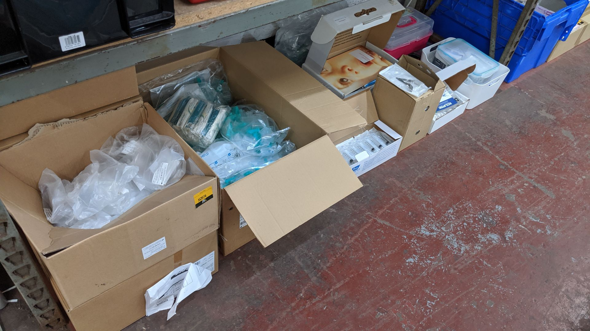 Lot 552 - Contents of a bay of medical supplies including safety tube holders, syringes, storage cases &