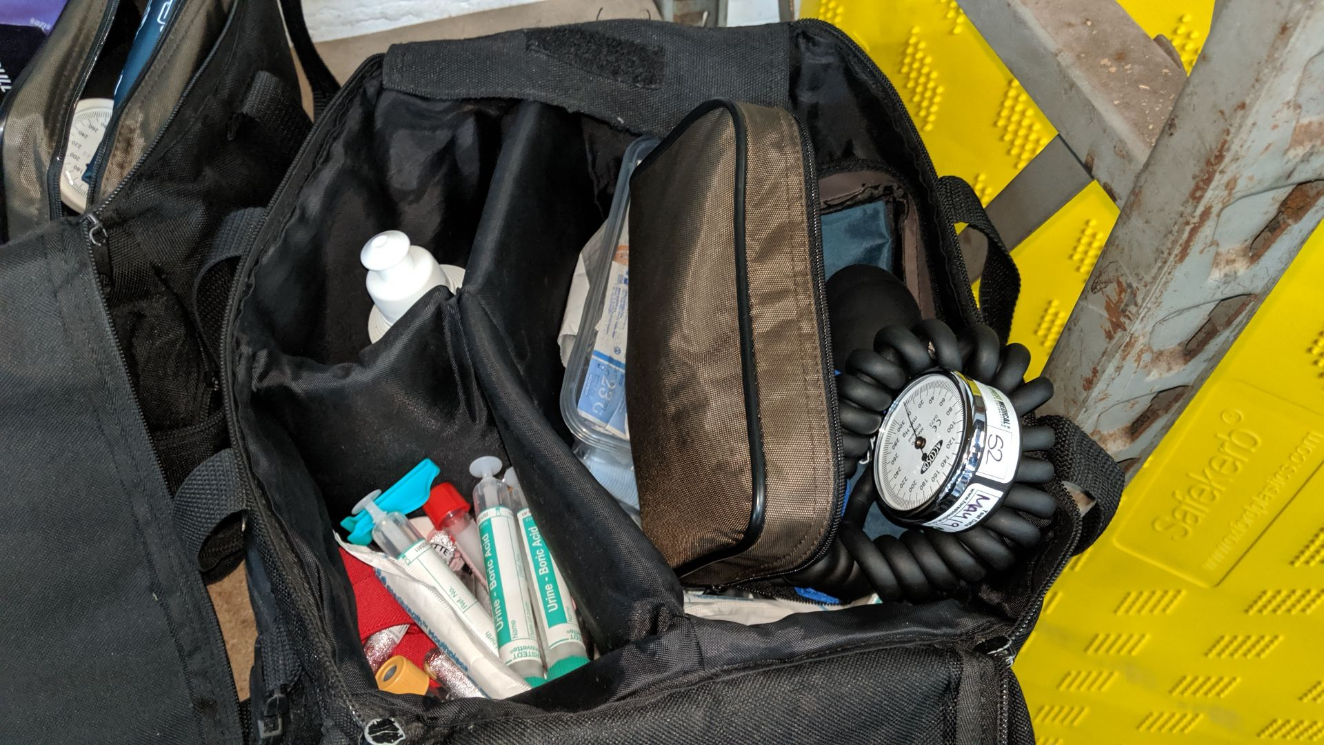 Lot 808 - 3 off medical bags & contents, each bag typically containing some or all of the following items -