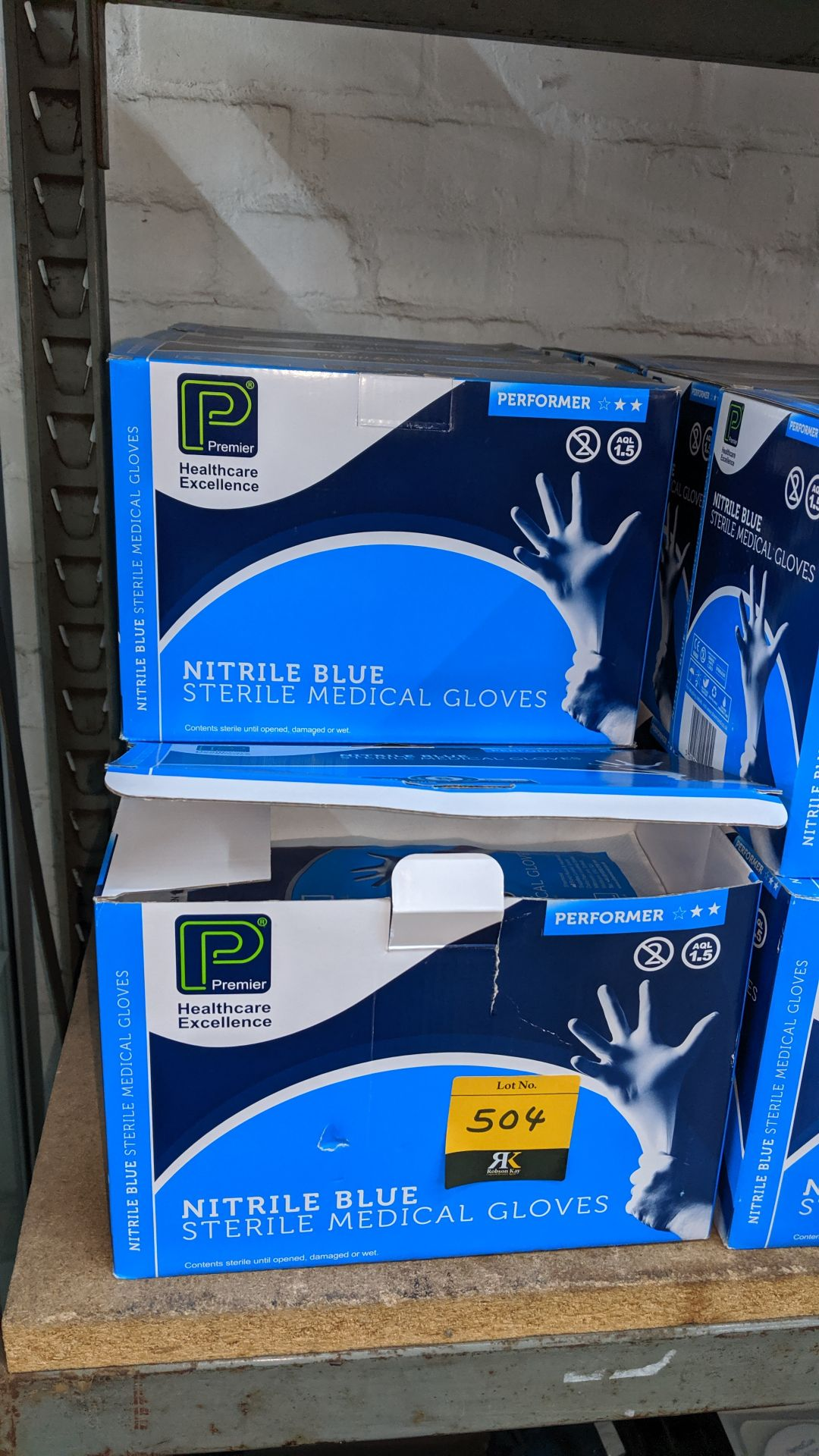 Lot 504 - 7 boxes of Nitrile blue sterile medical gloves. This is one of a large number of lots used/owned