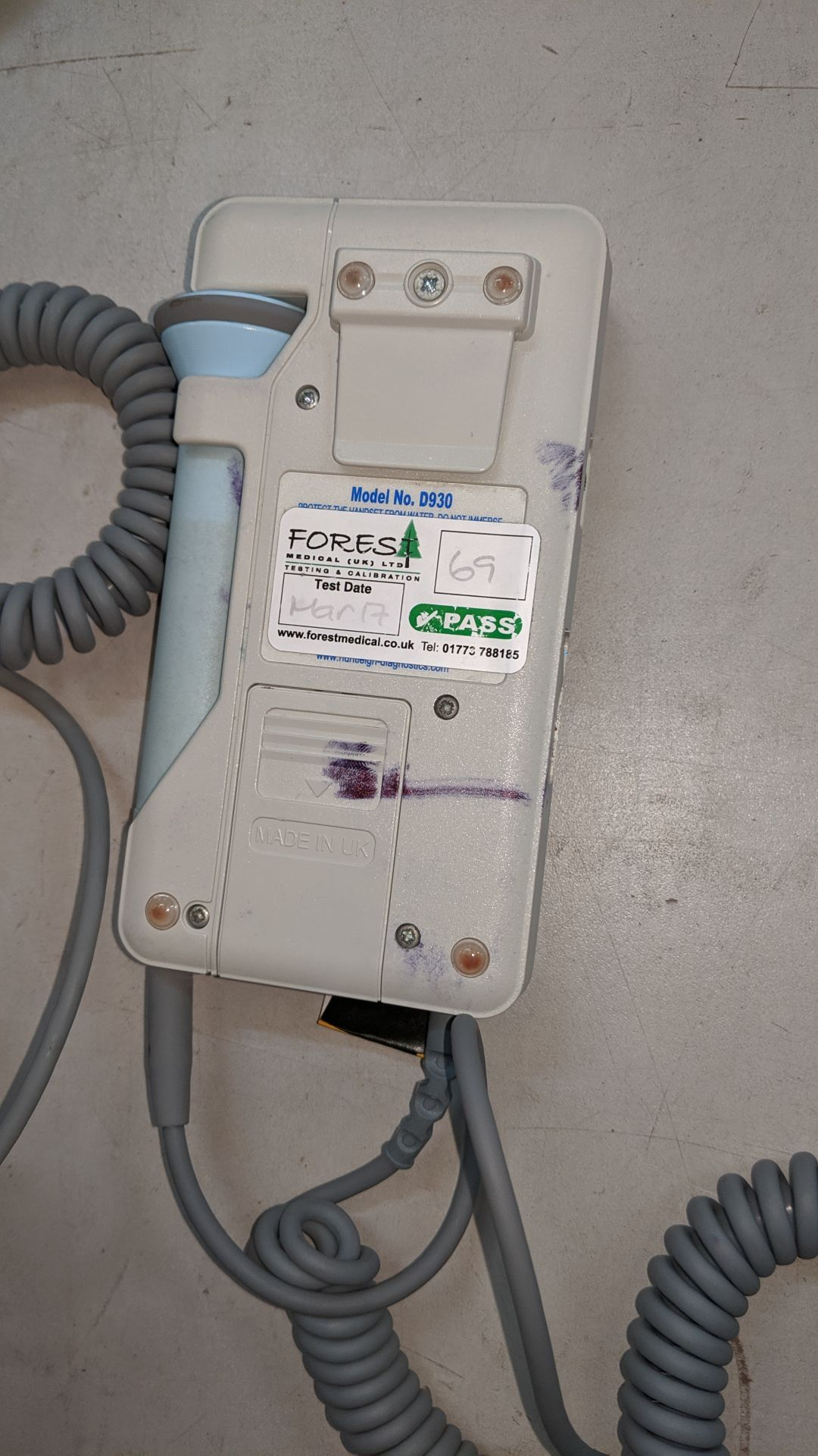 Lot 722 - Huntleigh Sonicaid D930 Fetal Doppler tester. This is one of a large number of lots used/owned by