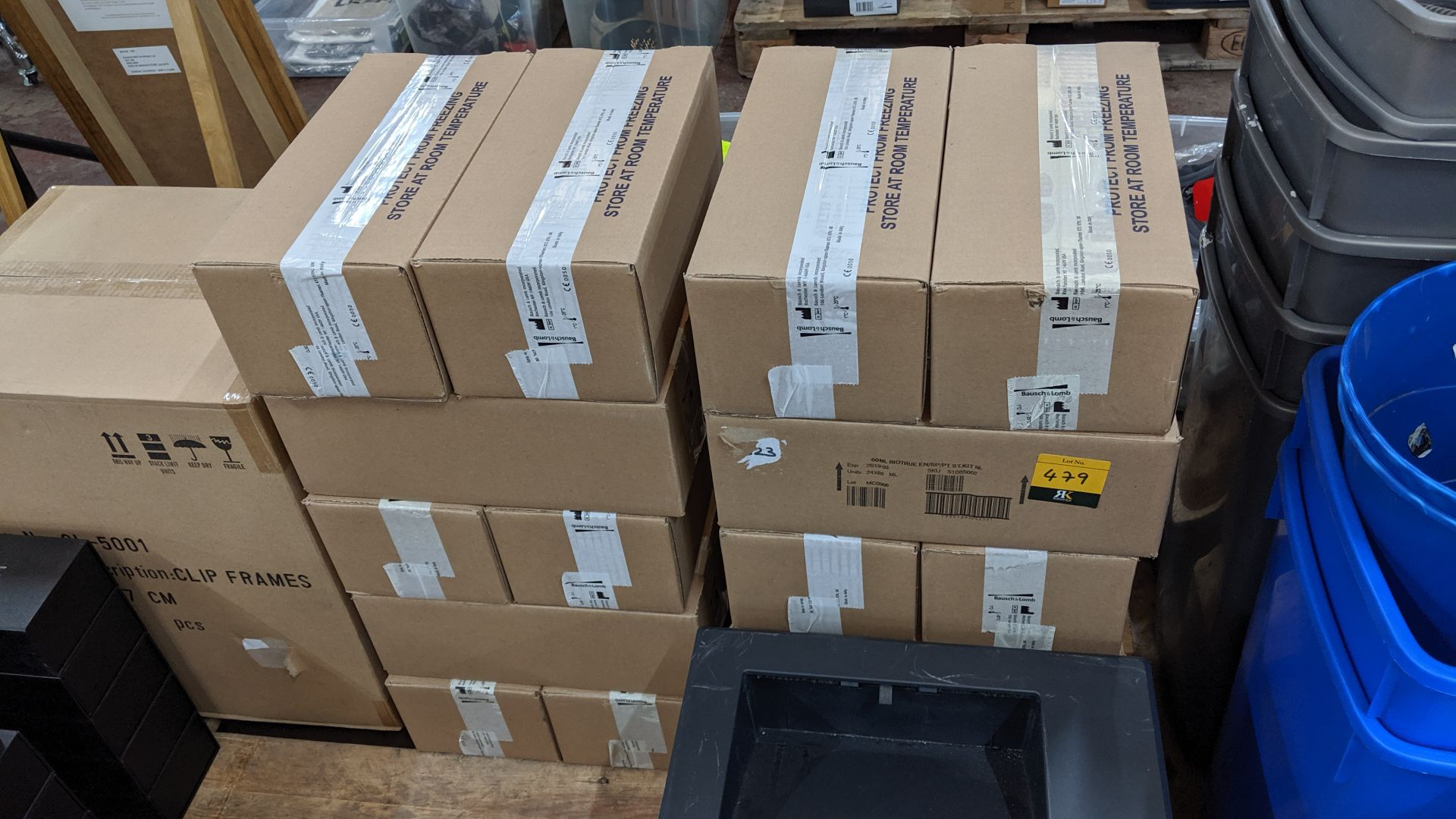 Lot 479 - 20 boxes, each containing 20 off 60ml bottles of Bausch & Lomb eye fluid, expiry date March 2019.
