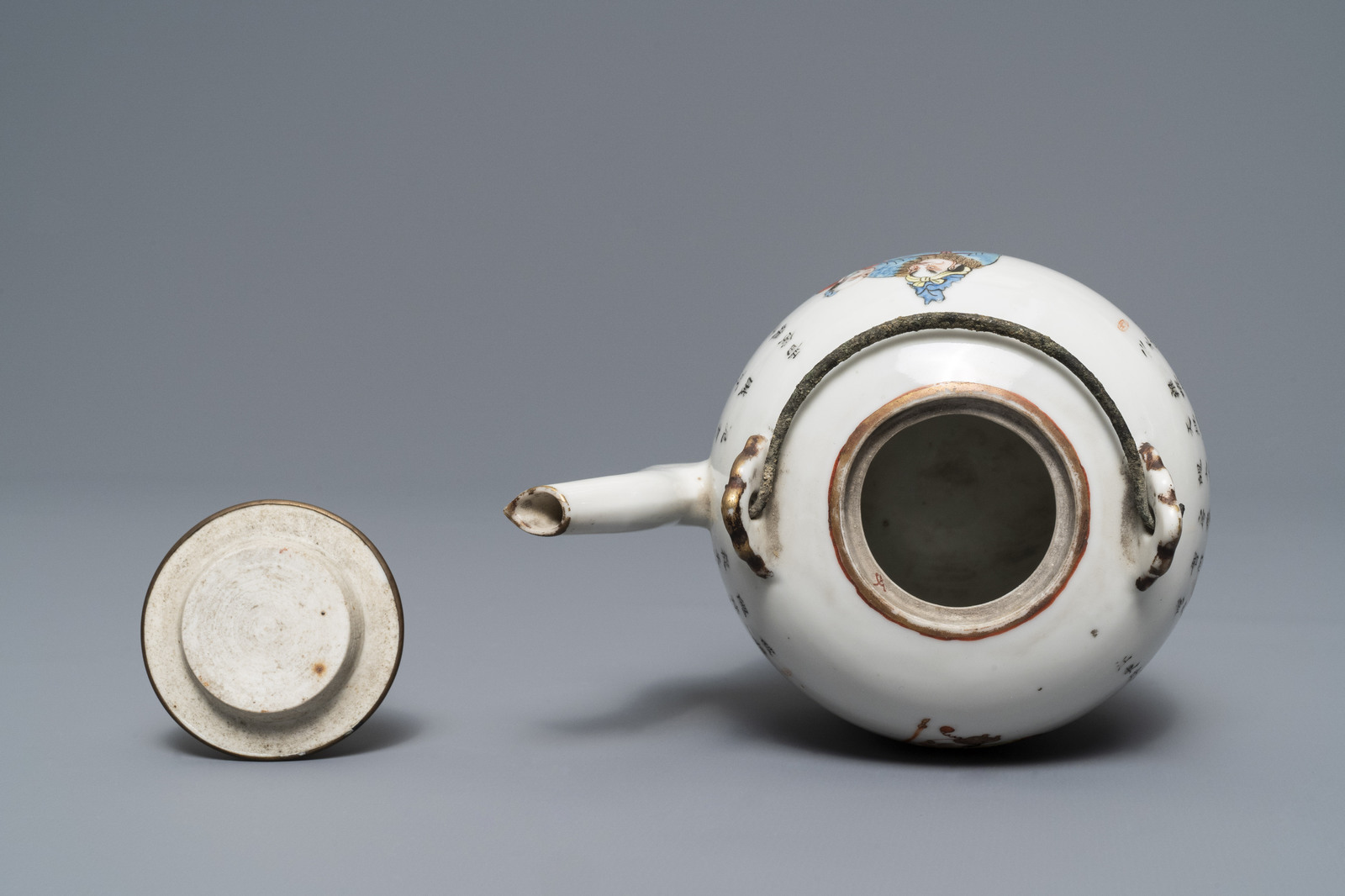 Lot 40 - A Chinese famille rose 'Wu Shuang Pu' teapot and cover, Daoguang mark, 19th C.
