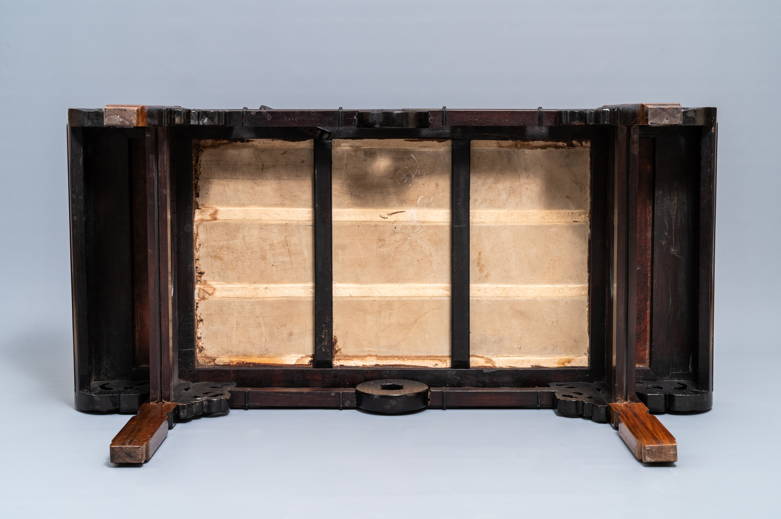Lot 18 - A large Chinese famille rose plaque inset in a wooden table, Republic, 20th C.
