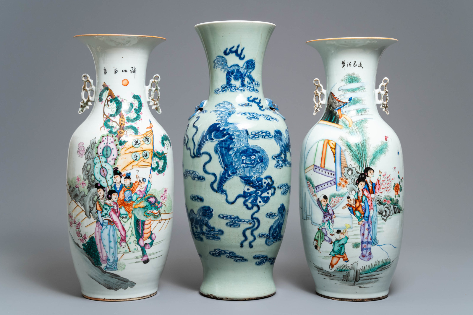Lot 48 - Two Chinese famille rose vases and a blue and white celadon vase, 19/20th C.