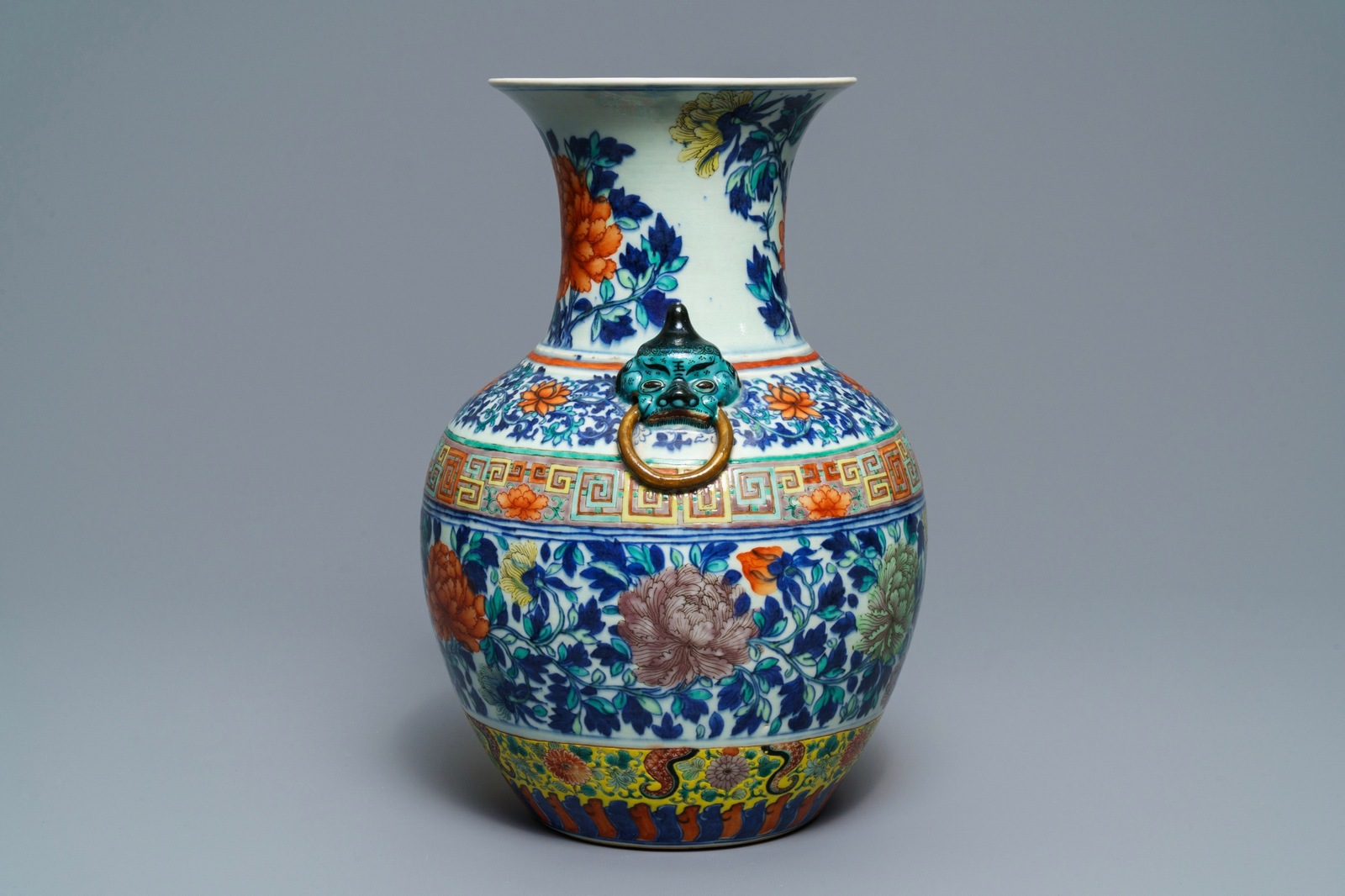 Lot 47 - A Chinese doucai 'peony' vase, 19th C.